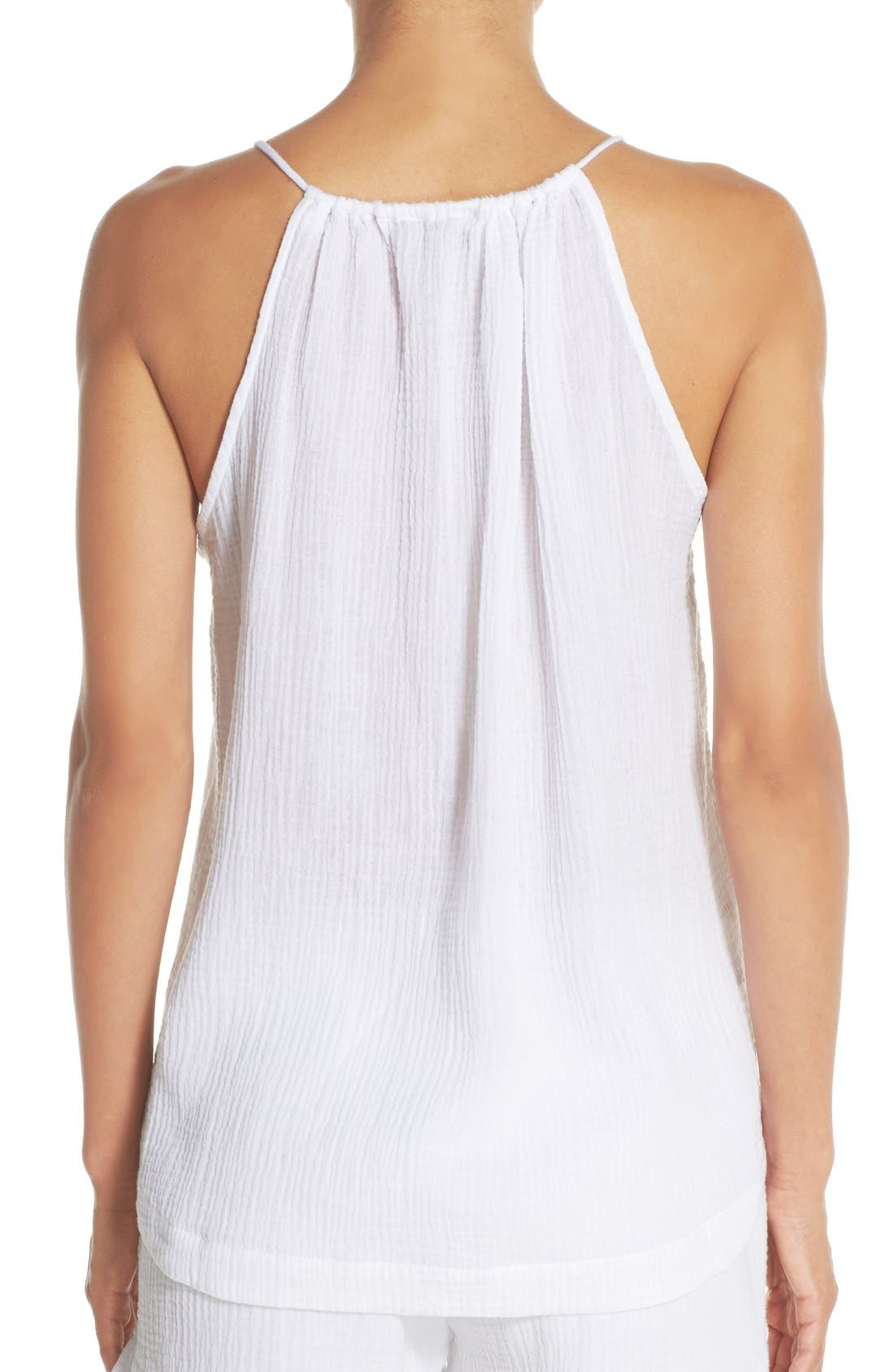 Alternate Image 2  - skin Split Neck Cotton Tank