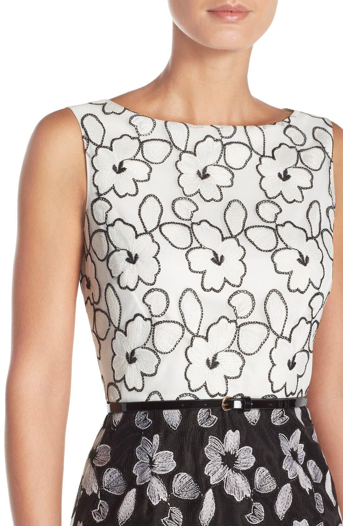 Alternate Image 4  - Ellen Tracy Floral Lace Sheath Dress With Belt
