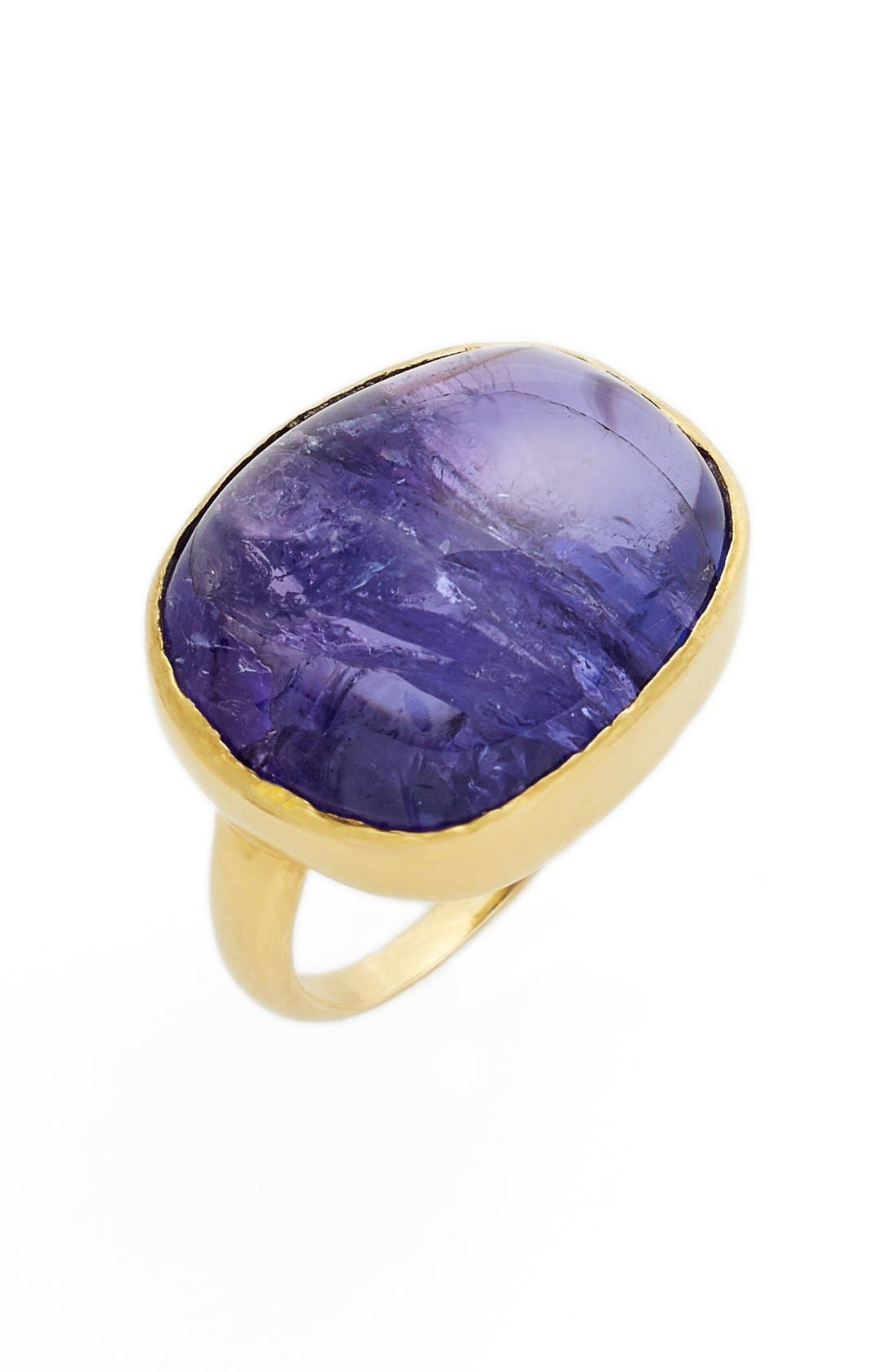 Pippa Small Tumbled Tanzanite Greek Ring