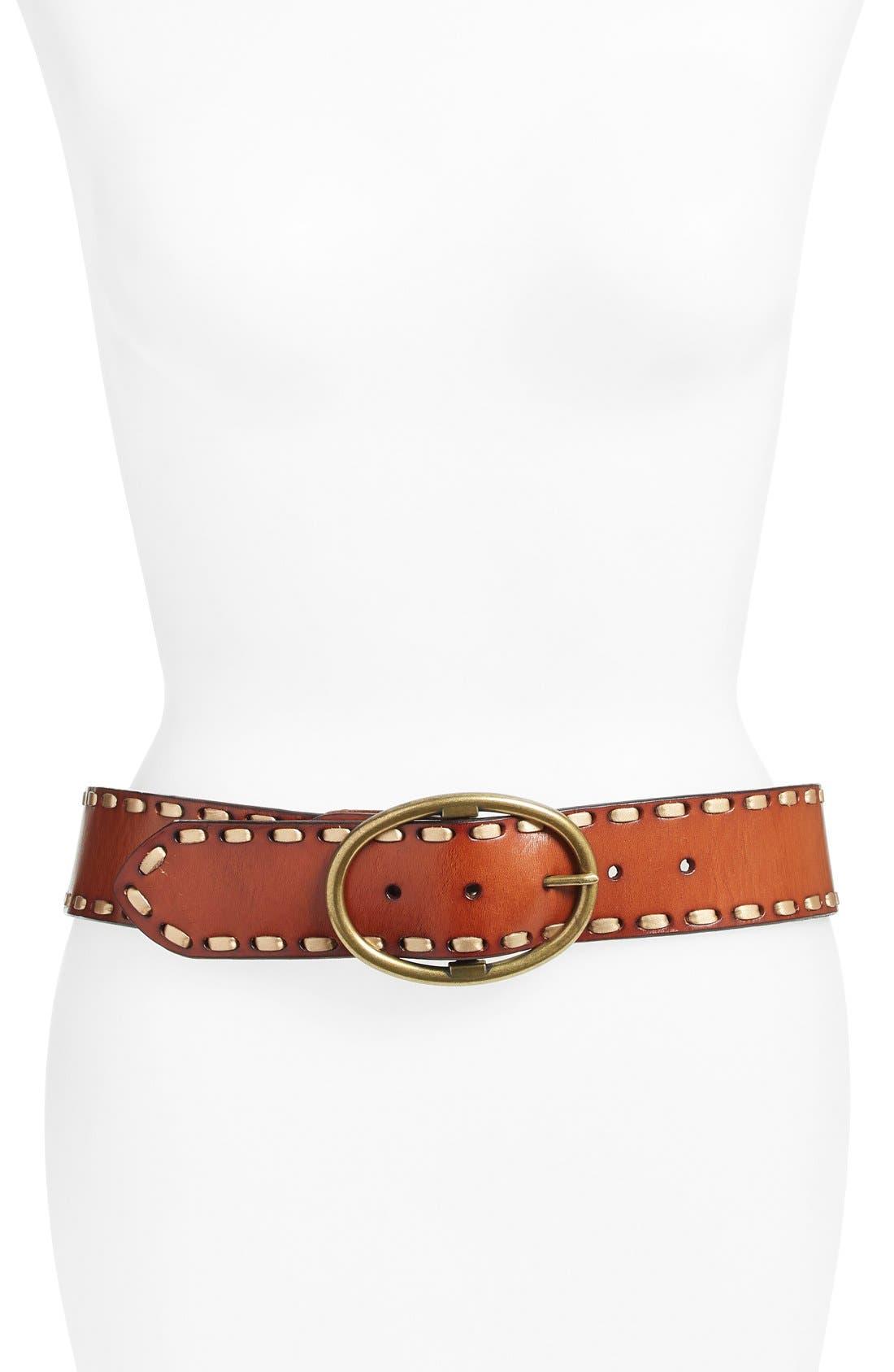Elise M. 'Anne' Stitched Leather Belt