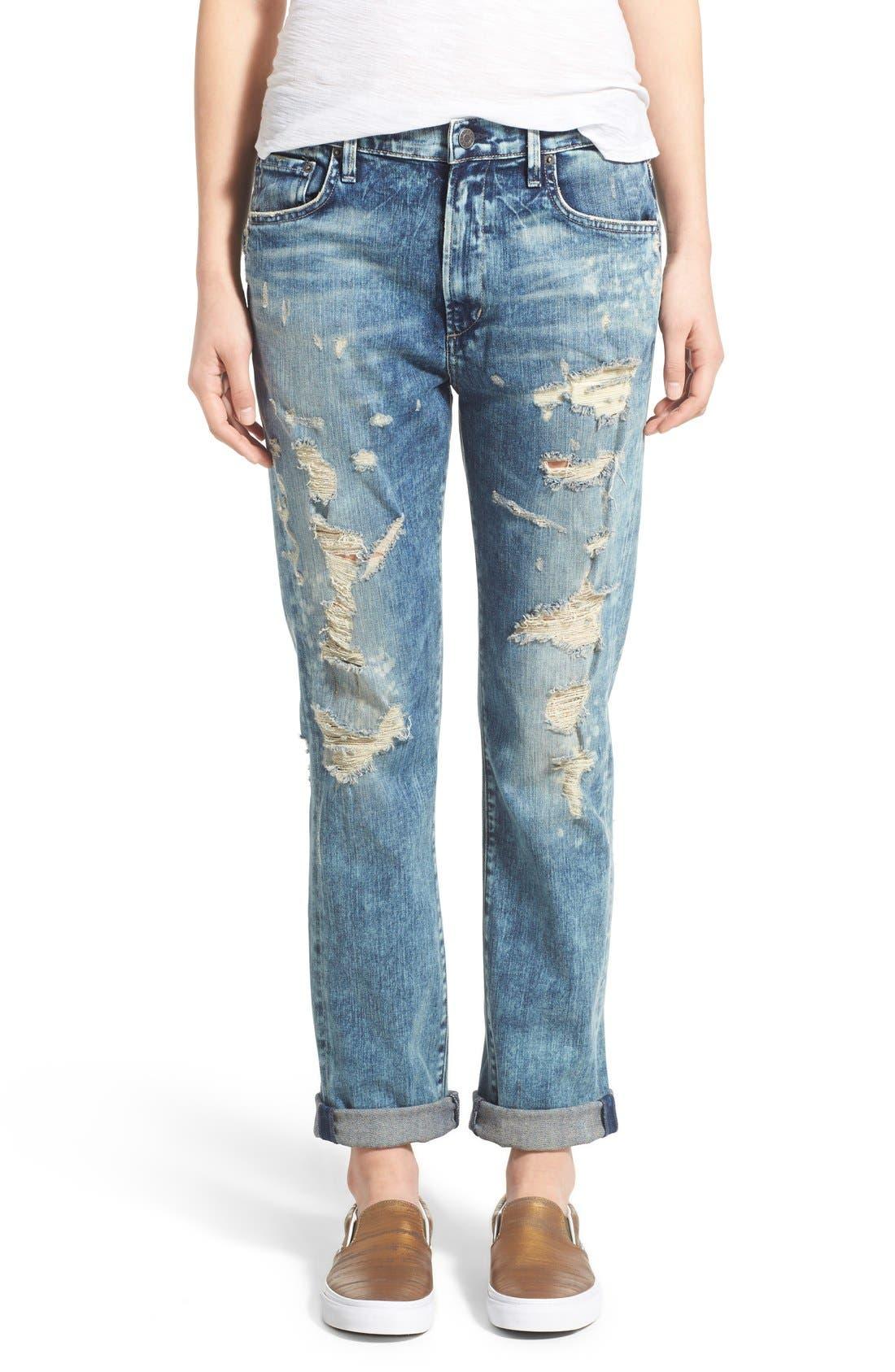 Alternate Image 1 Selected - A Gold E 'Denise' Destroyed Boyfriend Jeans (Lisbon)