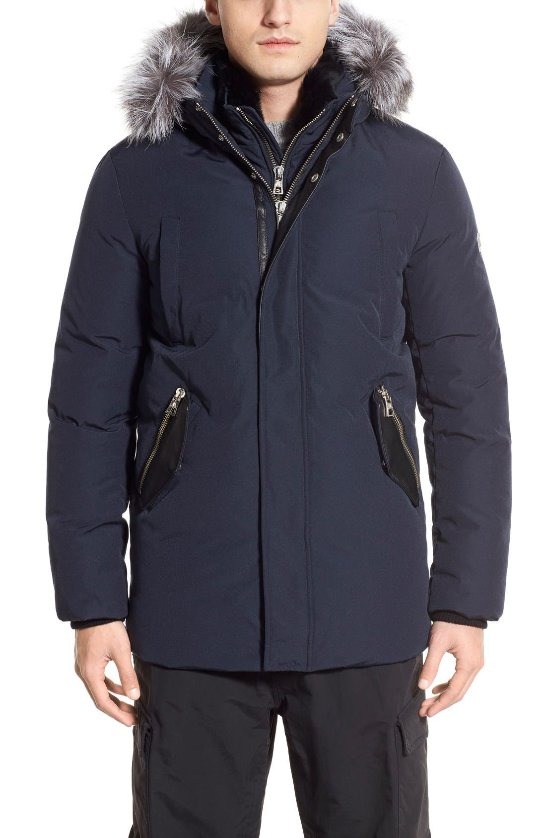 M. BENISTI Water Resistant Parka with Genuine Silver