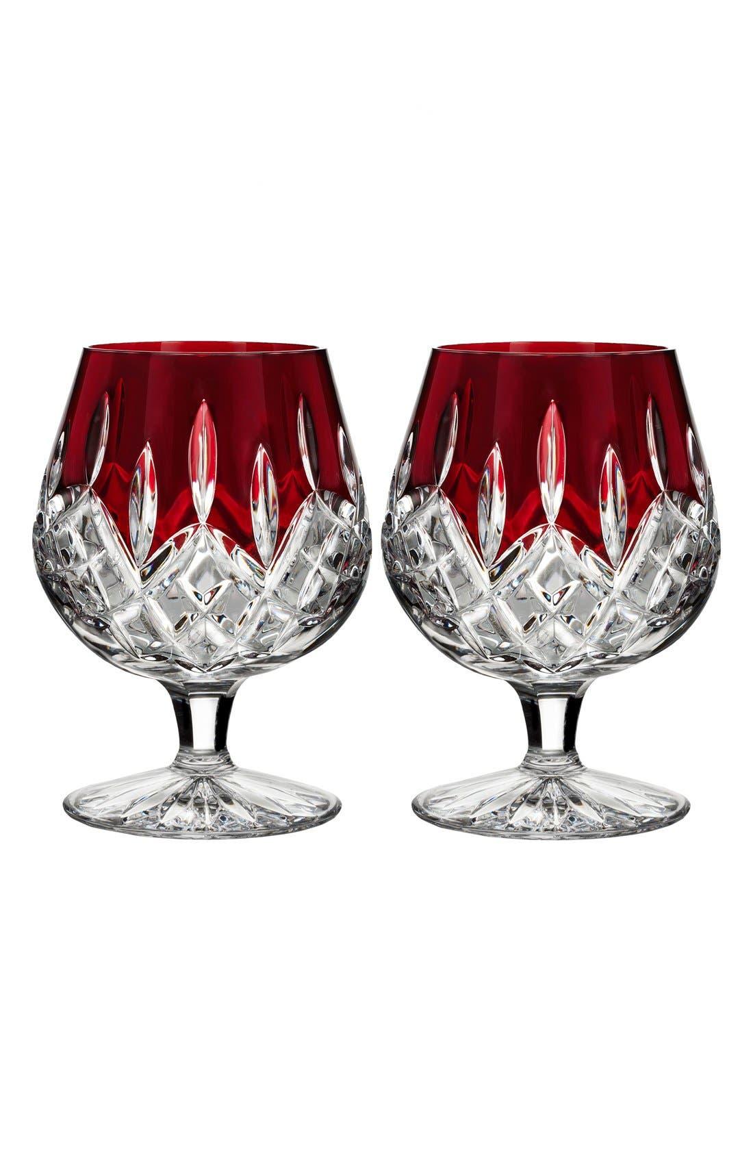 Waterford 'Lismore Red' Lead Crystal Brandy Glasses (Set of 2)