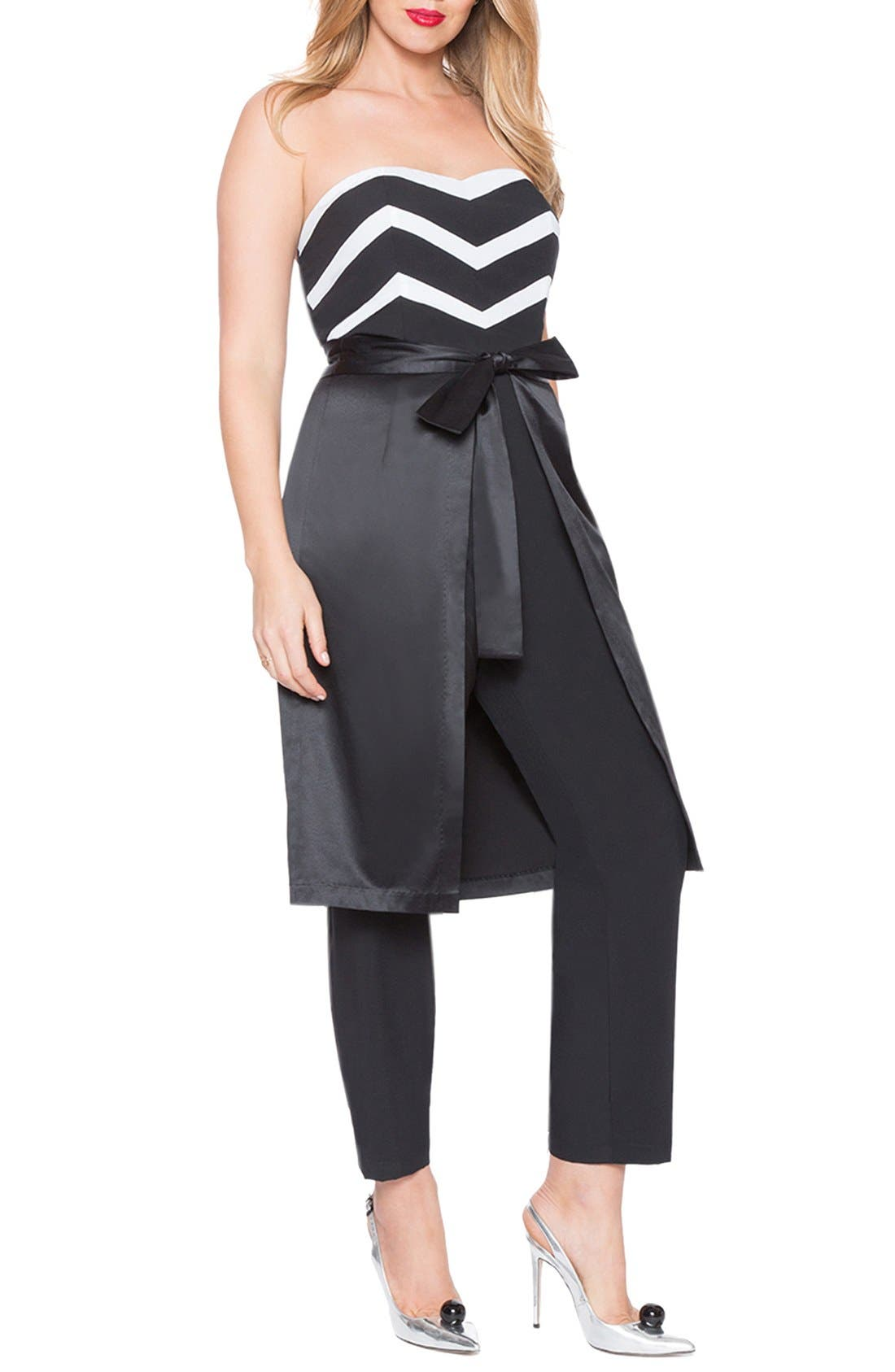 Alternate Image 1 Selected - ELOQUII Strapless Jumpsuit with Detachable Skirt (Plus Size)