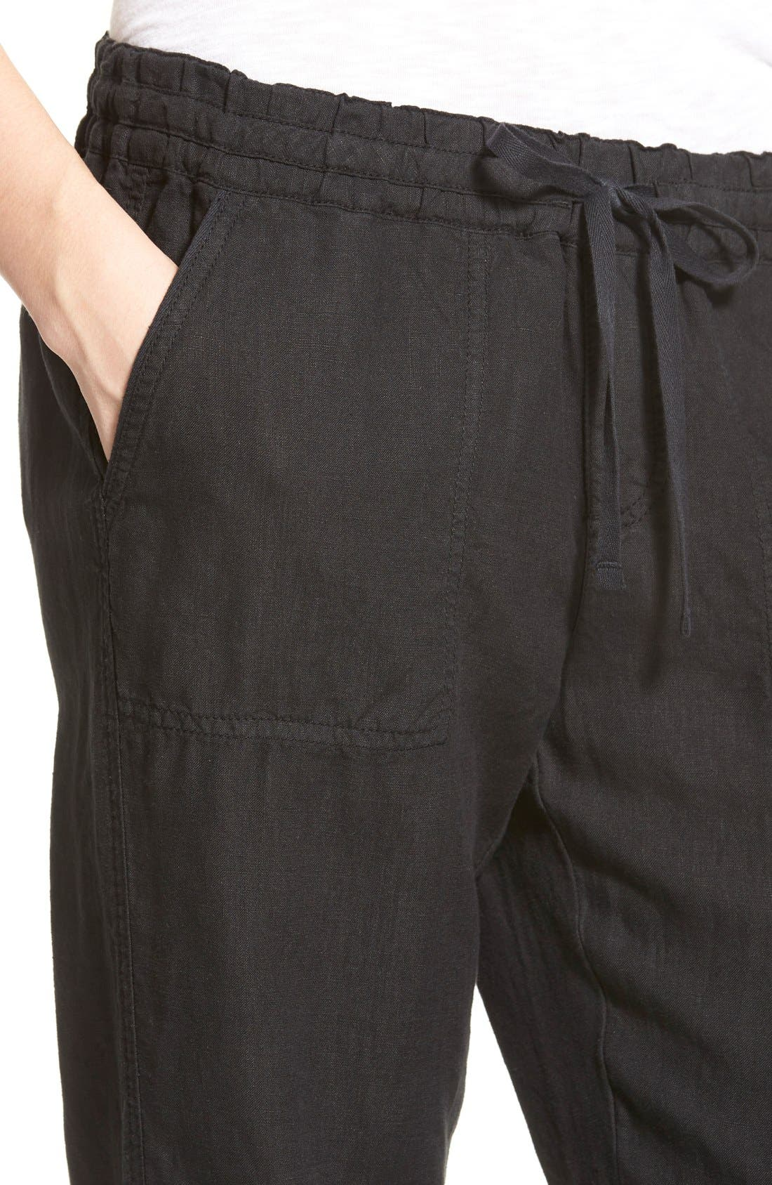 Alternate Image 4  - Caslon® Drawstring Linen Pants (Regular & Petite)