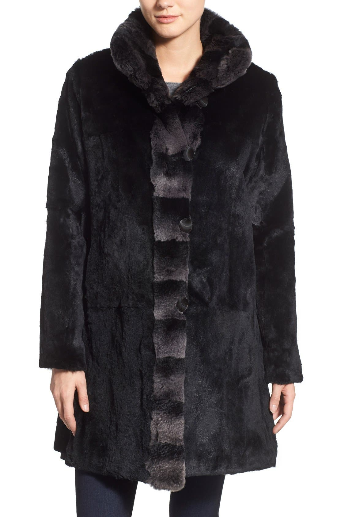 Alternate Image 4  - Blue Duck Genuine Rabbit Fur Reversible Storm Coat (Regular & Petite)