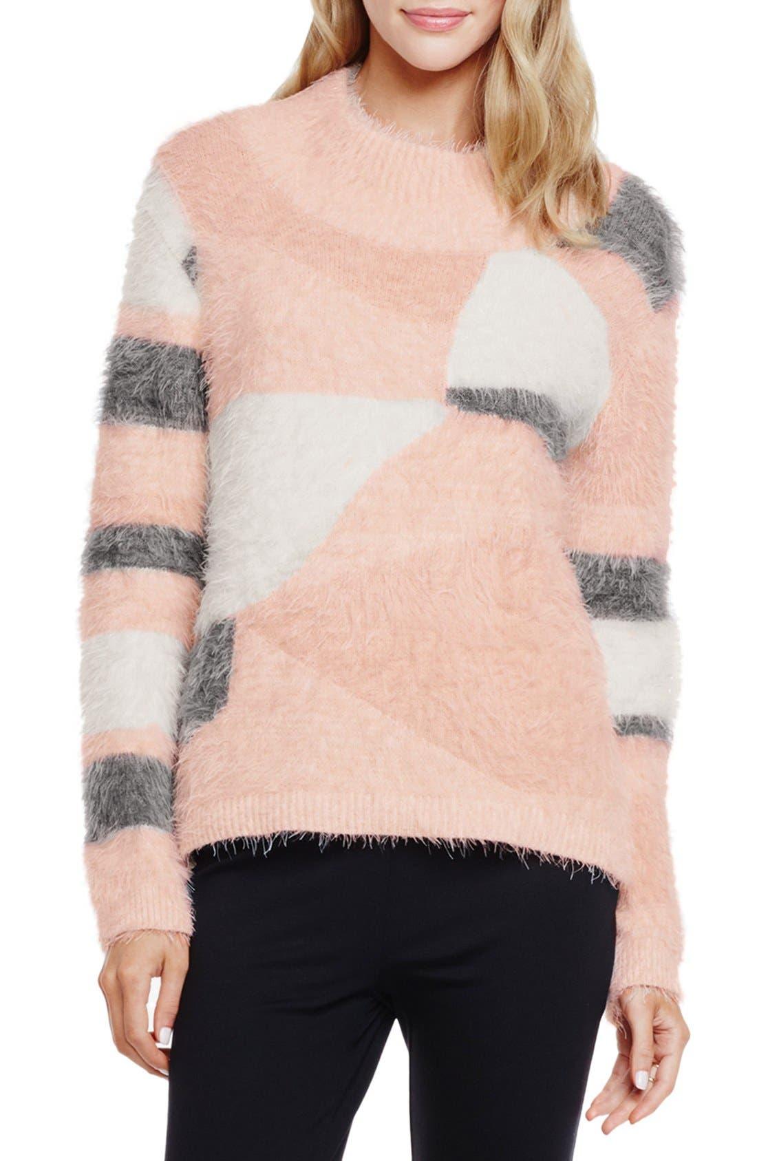 Main Image - Vince Camuto Mixed Yarn Intarsia Turtleneck Eyelash Sweater