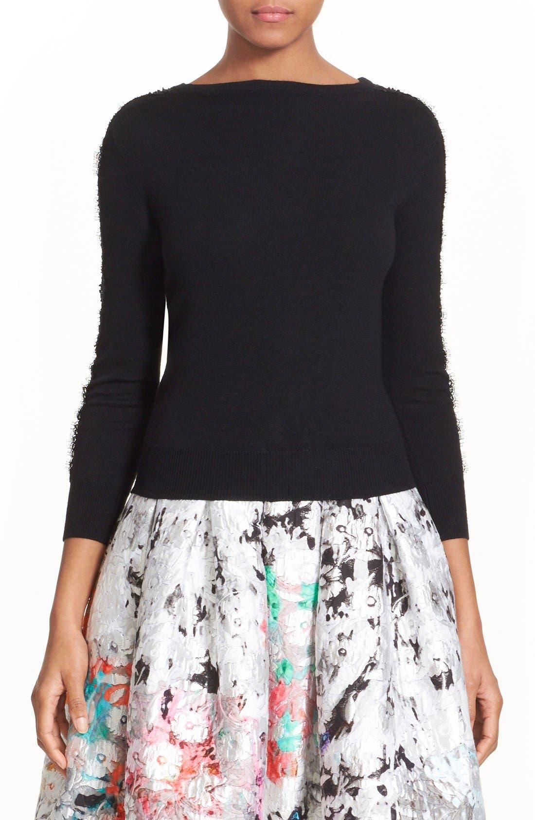 Alternate Image 1 Selected - Oscar de la Renta Embellished Floral Lace Inset Wool Sweater
