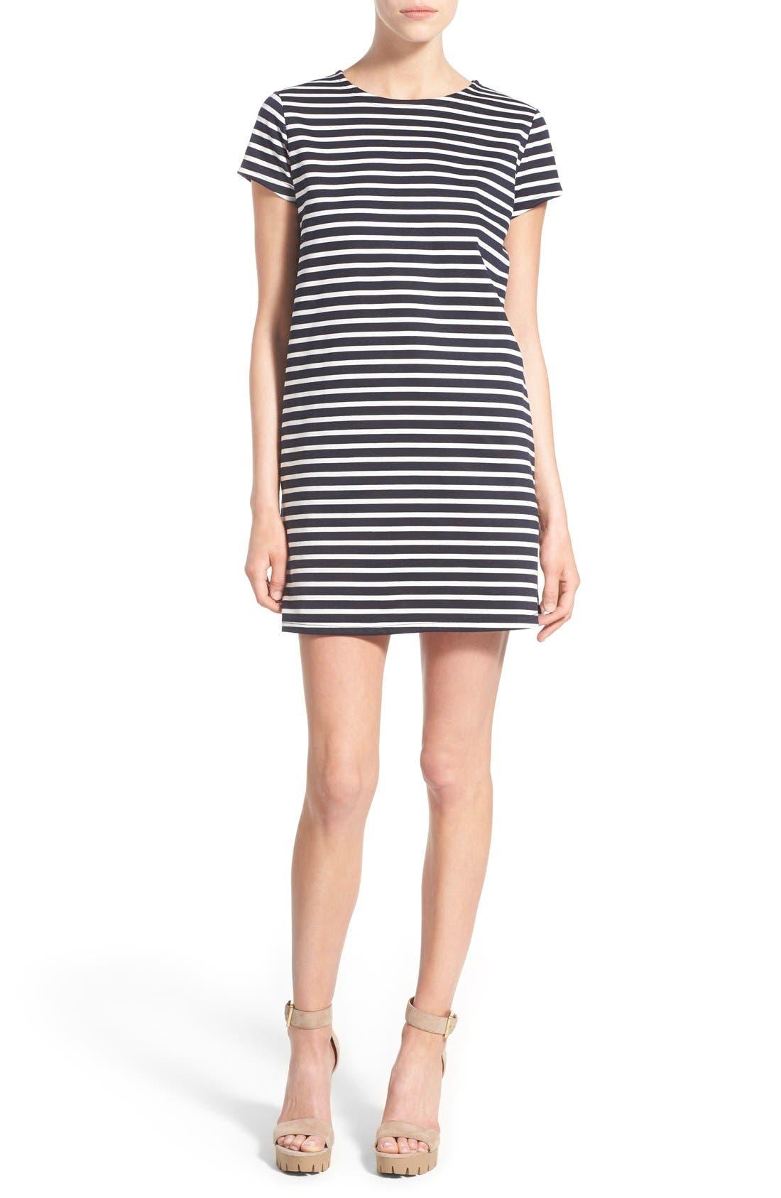 Alternate Image 1 Selected - Missguided Stripe Short Sleeve Shift Dress