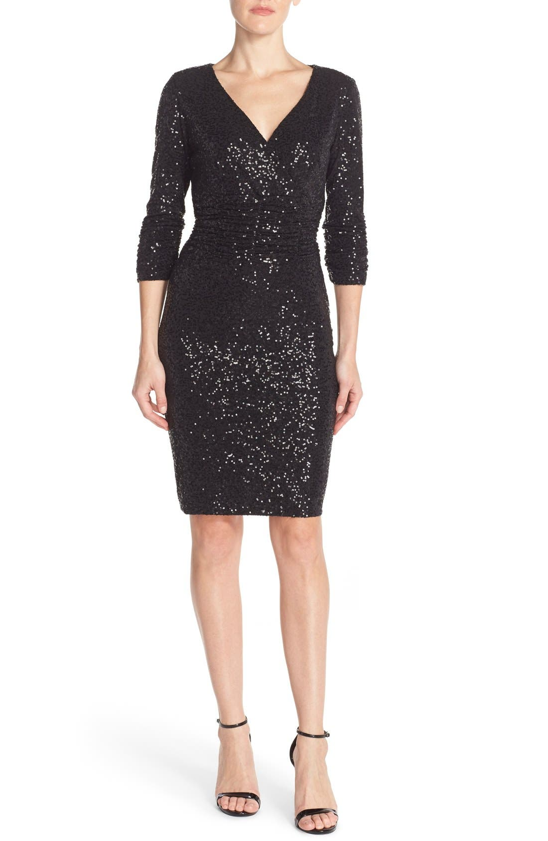 Alternate Image 4  - Nue by Shani Ruched Sequin Sheath Dress