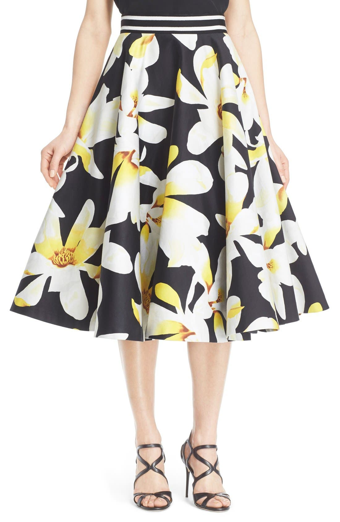 Alternate Image 1 Selected - Alice + Olivia 'Dianna' Floral Print Circle Skirt