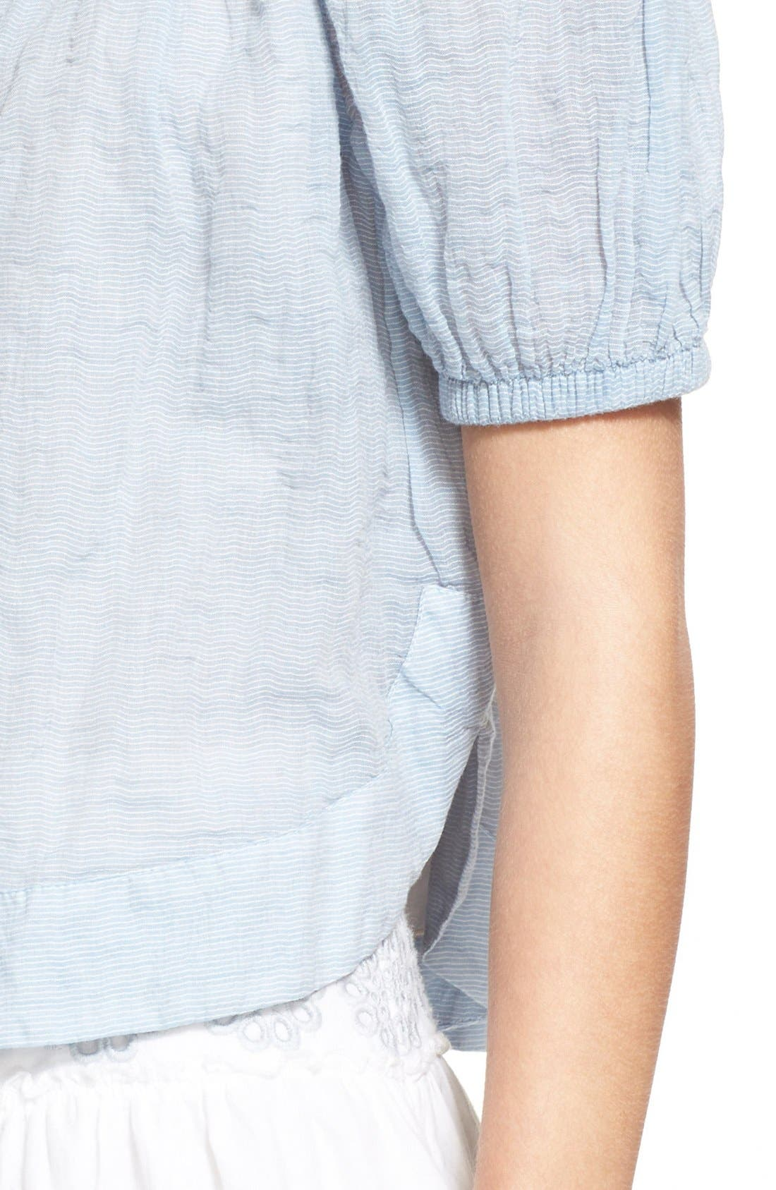 Alternate Image 4  - See by Chloé Stripe Cotton Voile Off the Shoulder Top