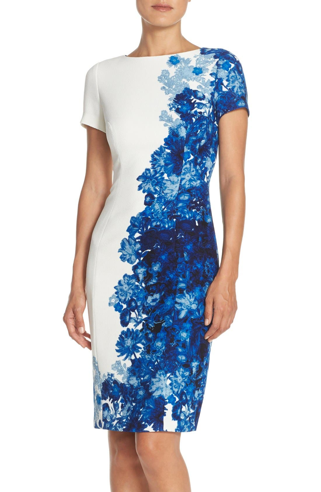 Main Image - Adrianna Papell Floral Print Waffle Piqué Sheath Dress (Regualr & Petite)