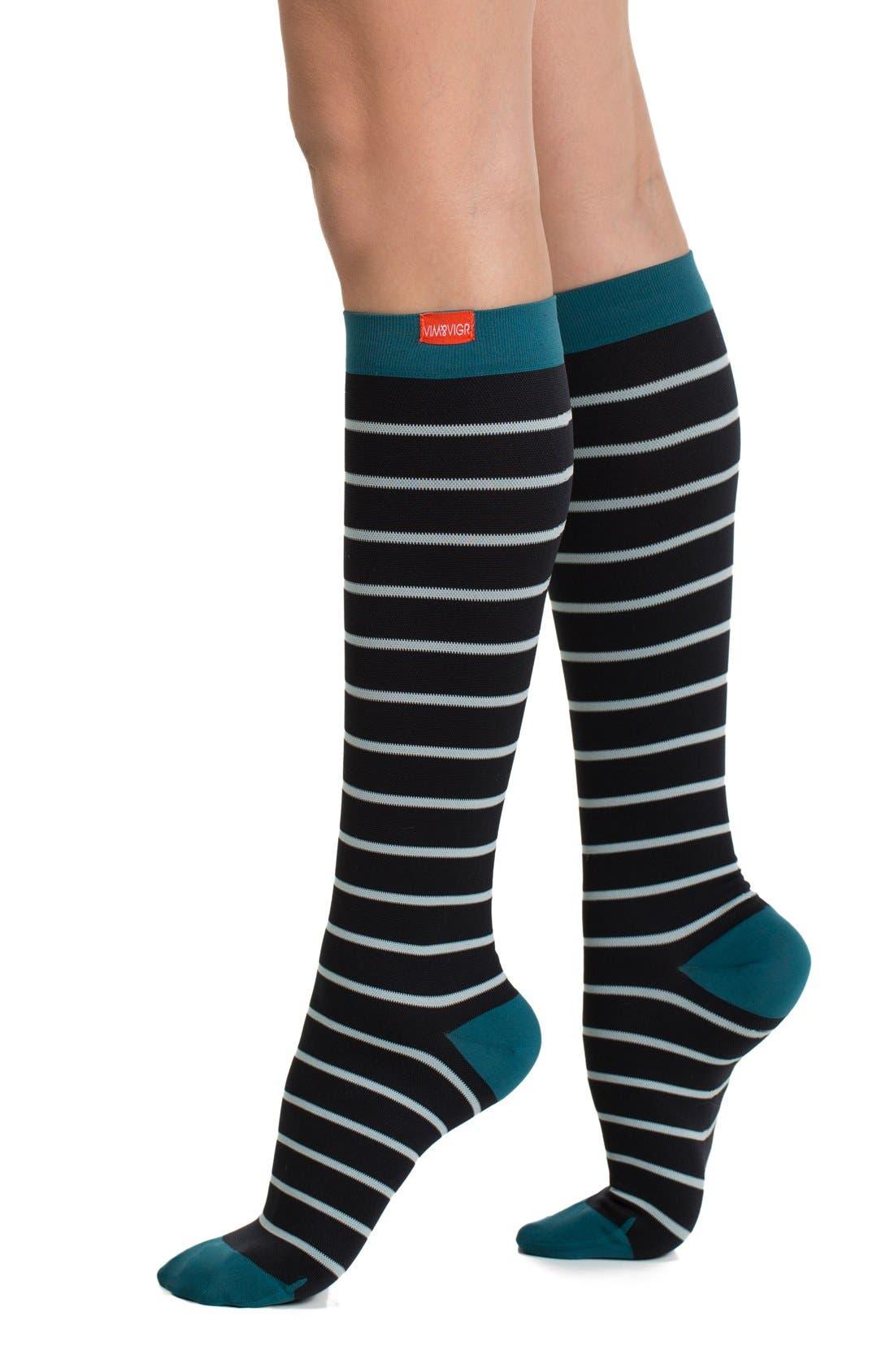 VIM & VIGR Nautical Stripe Graduated Compression Trouser