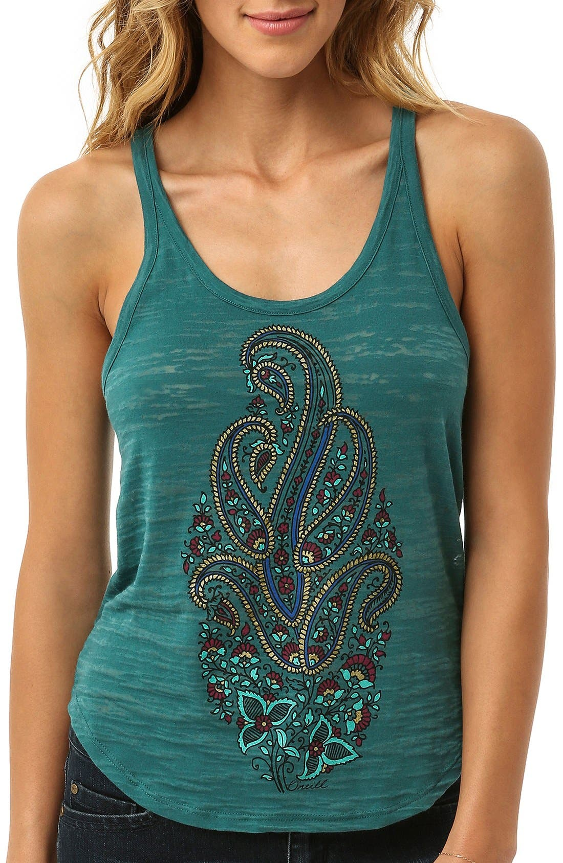 Alternate Image 1 Selected - O'Neill Paisley Graphic Burnout Racerback Tank