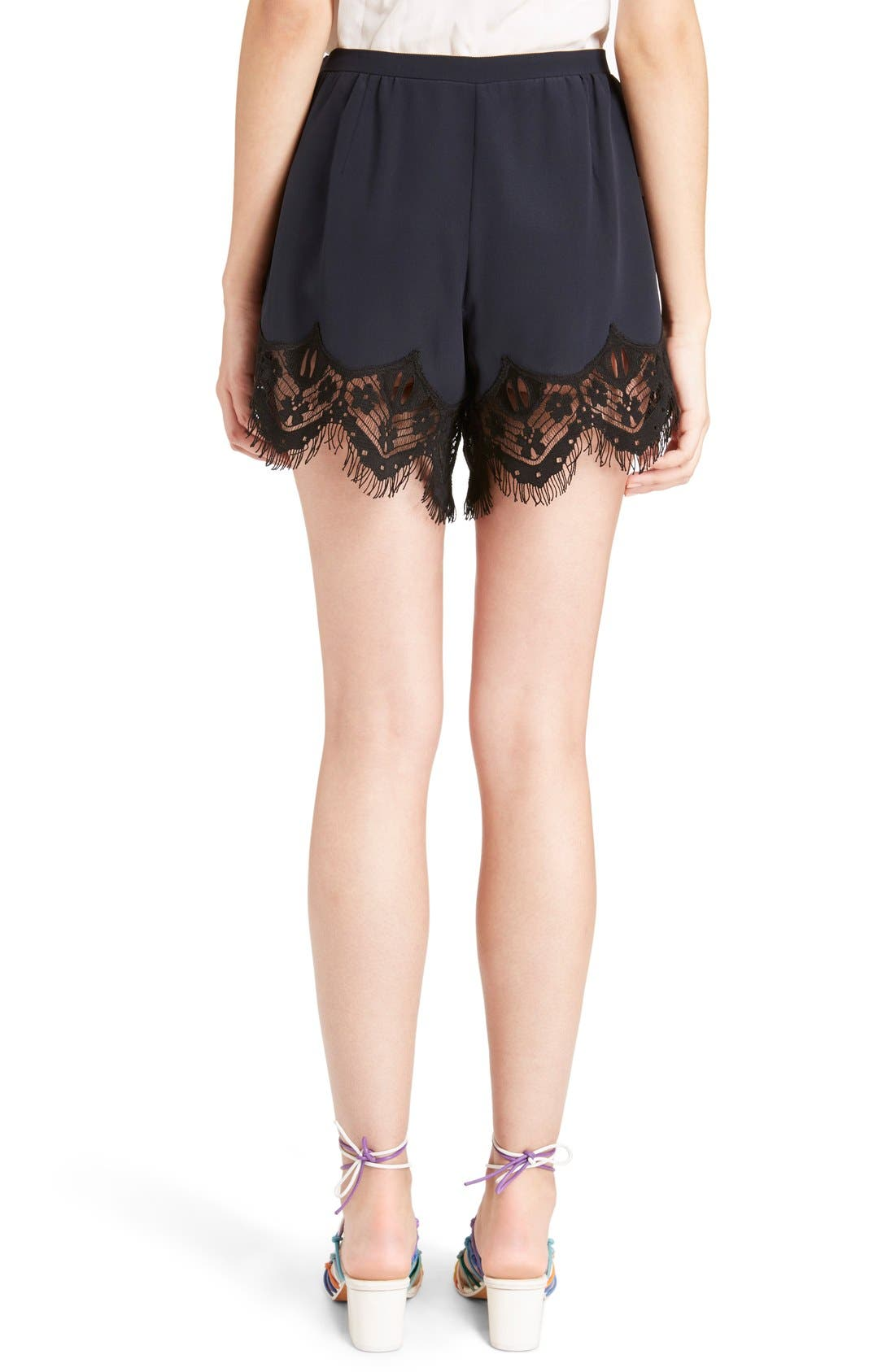 Alternate Image 3  - Chloé Fringed Floral Lace Trim Silk Shorts
