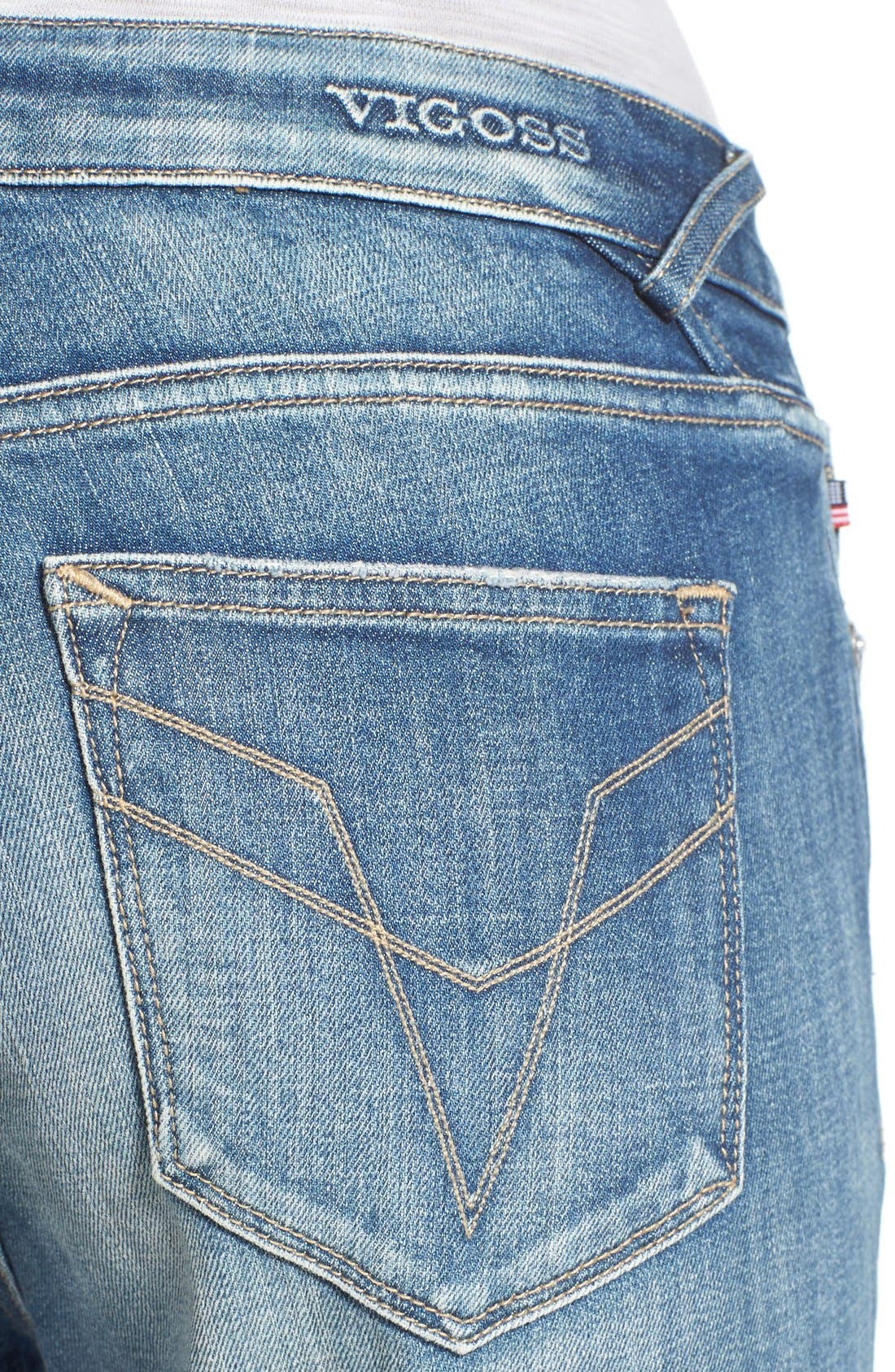 Alternate Image 4  - Vigoss 'Chelsea' Flare Jeans (Medium Wash)