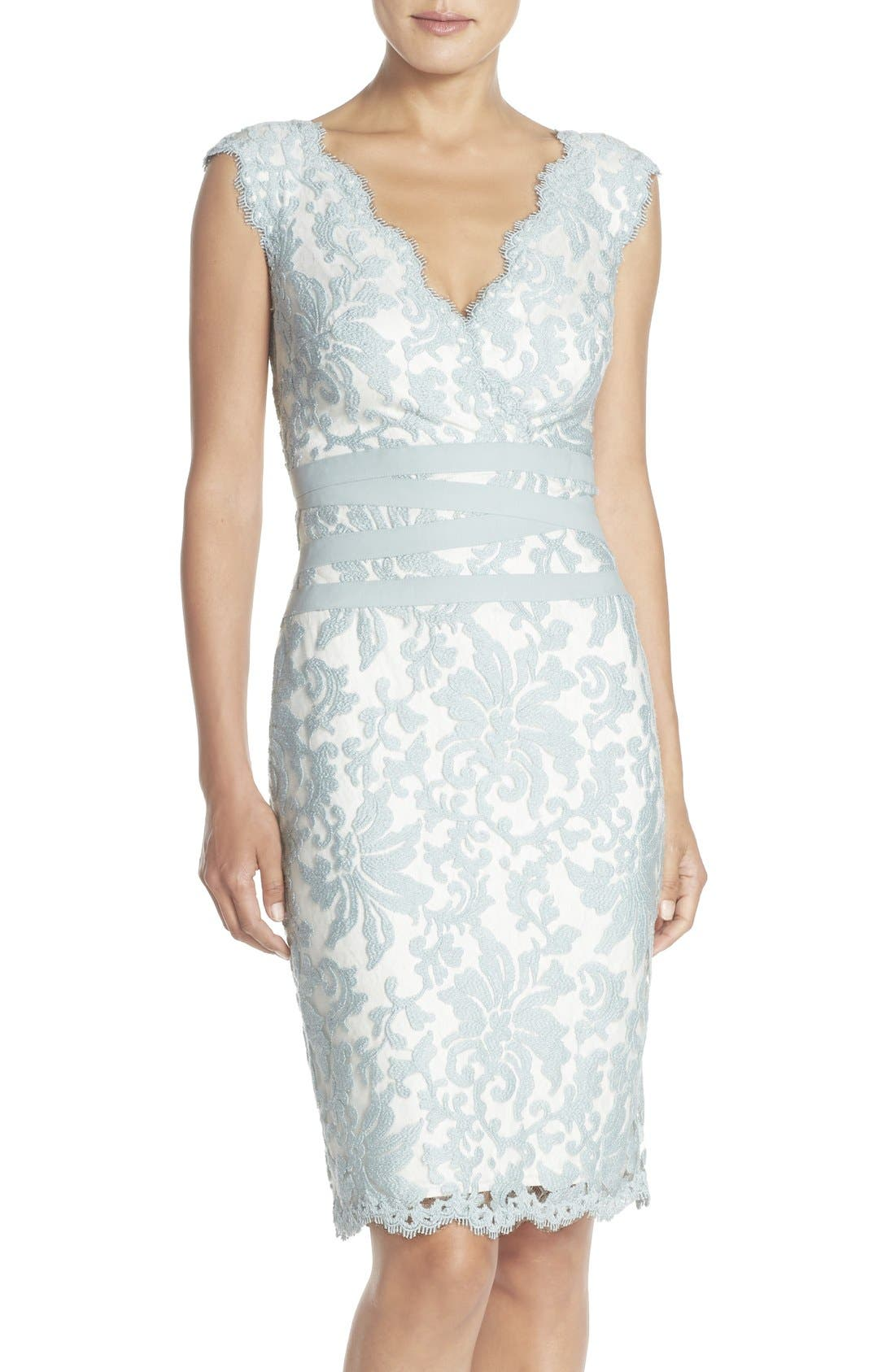 Main Image - Tadashi Shoji Embroidered Lace Sheath Dress (Regular & Petite)