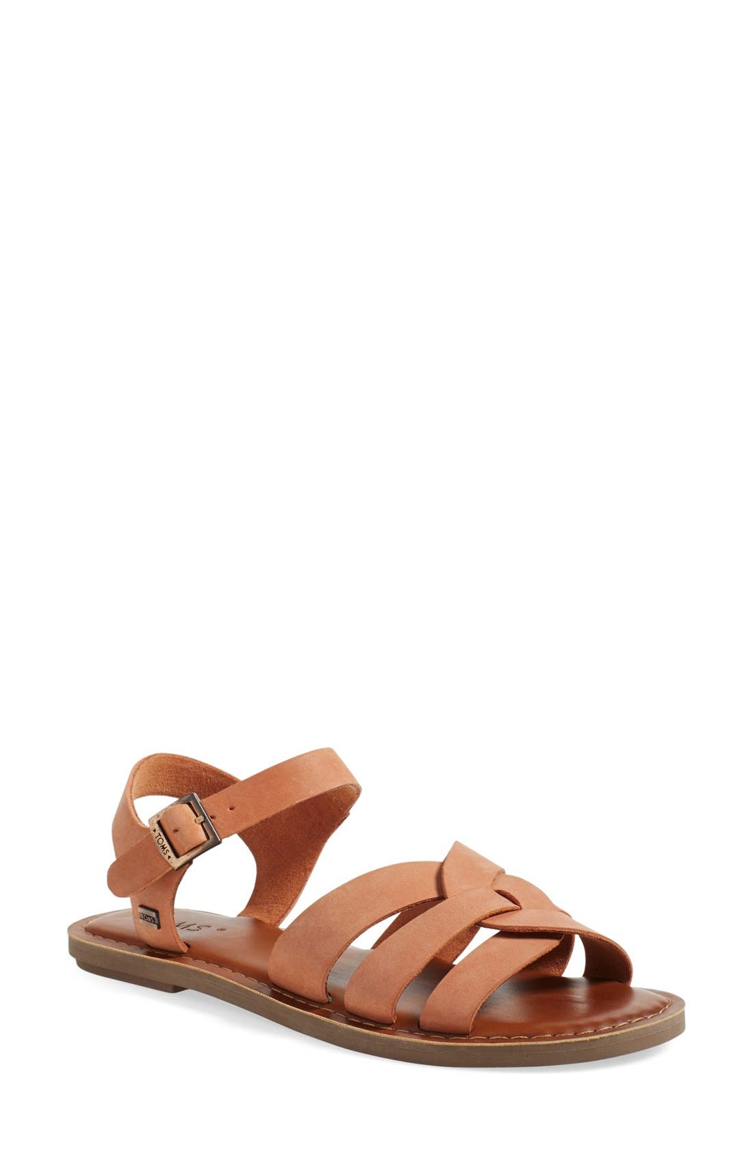 Alternate Image 1 Selected - TOMS 'Zoe' Flat Quarter Strap Sandal (Women)