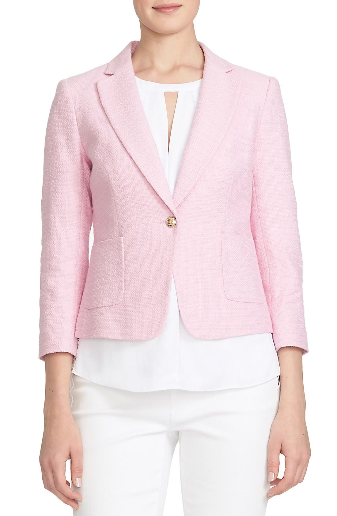 Alternate Image 1 Selected - CeCe by Cynthia Steffe Basket Weave One-Button Blazer