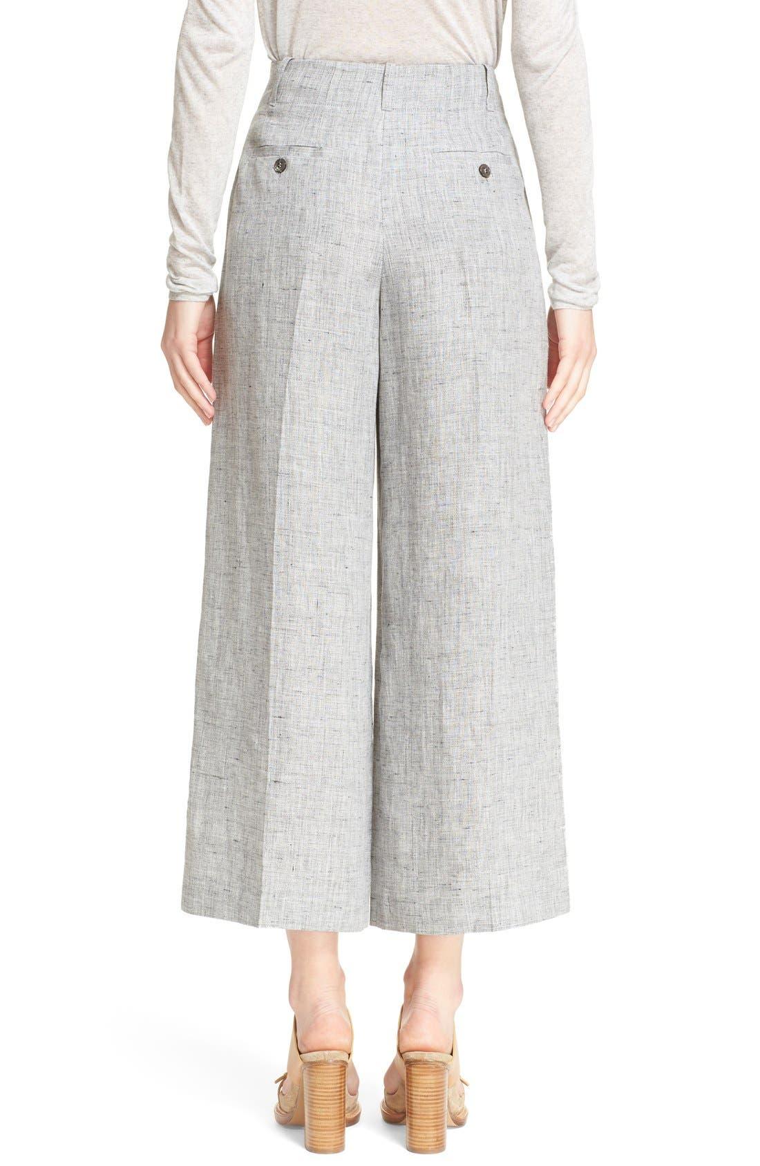 Alternate Image 2  - Michael Kors Pleated Crop Mélange Linen Pants