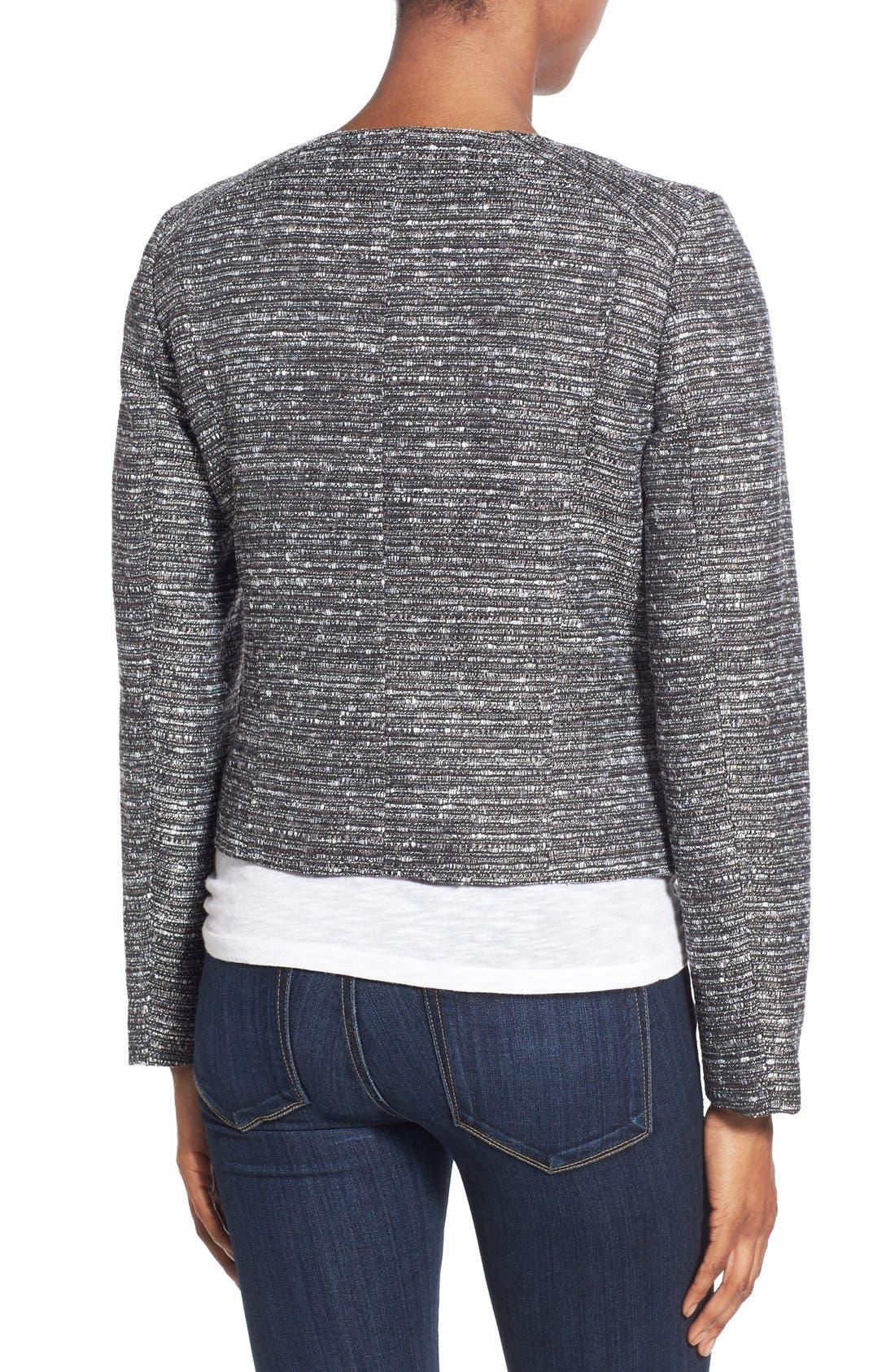Alternate Image 2  - Halogen® Zip Front Tweed Jacket (Regular & Petite)