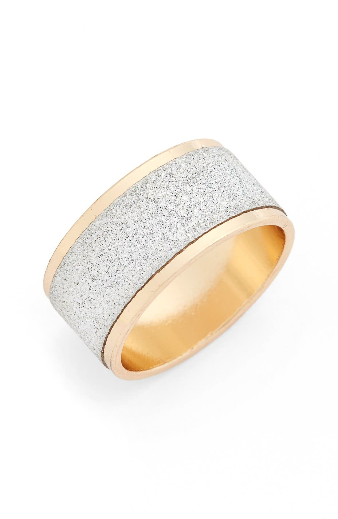 Main Image - Topshop Silver & Gold Glitter Ring