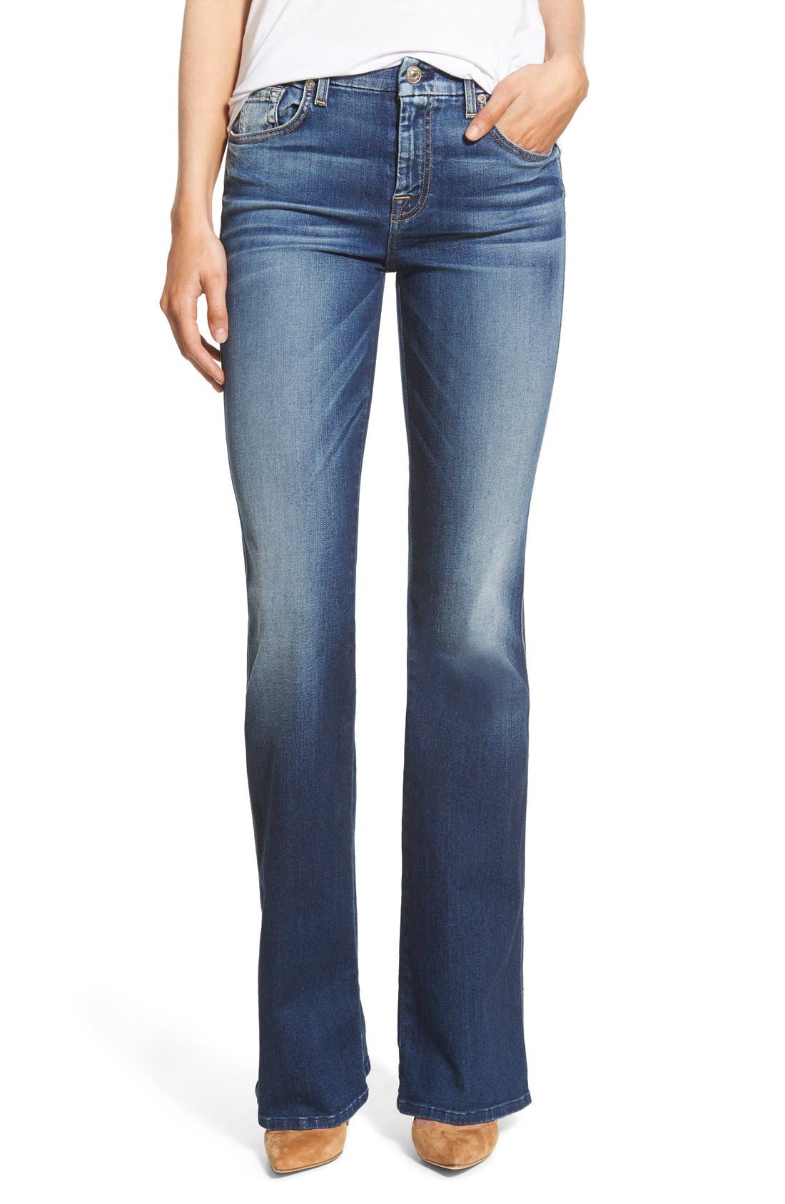 Alternate Image 1 Selected - 7 For All Mankind® A-Pocket Flare Jeans (Bright Indigo)