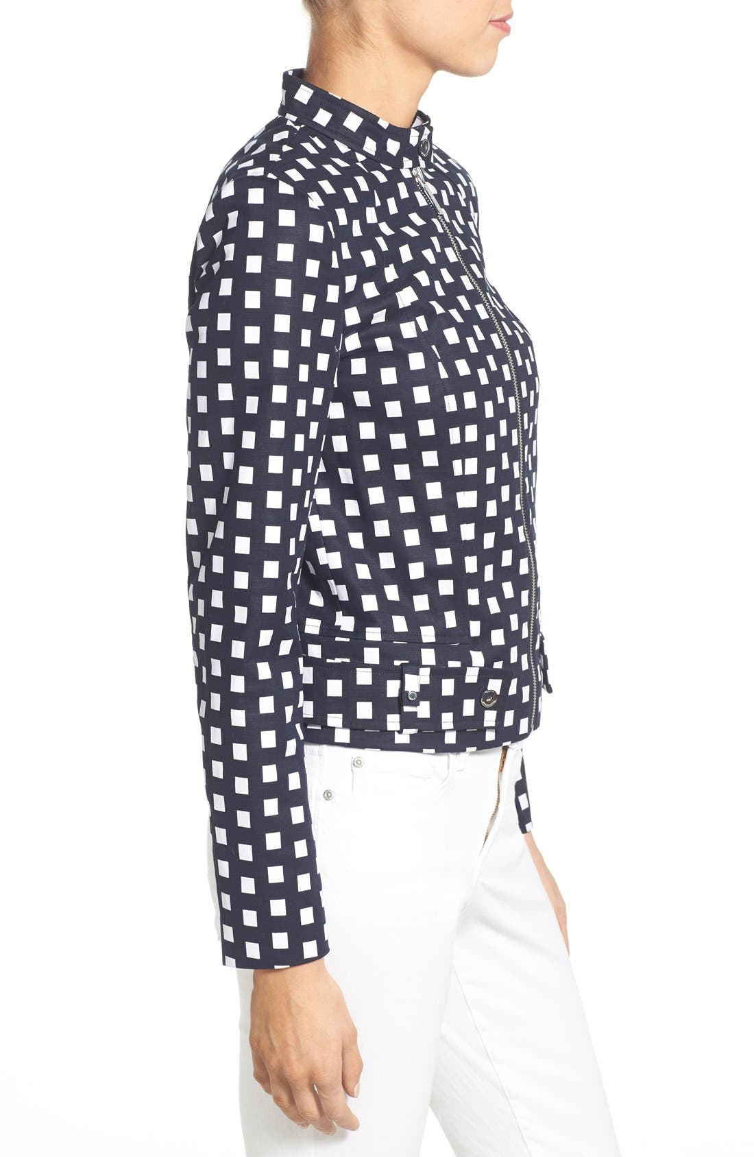 Alternate Image 3  - MICHAEL Michael Kors Check Front Zip Moto Jacket (Petite)