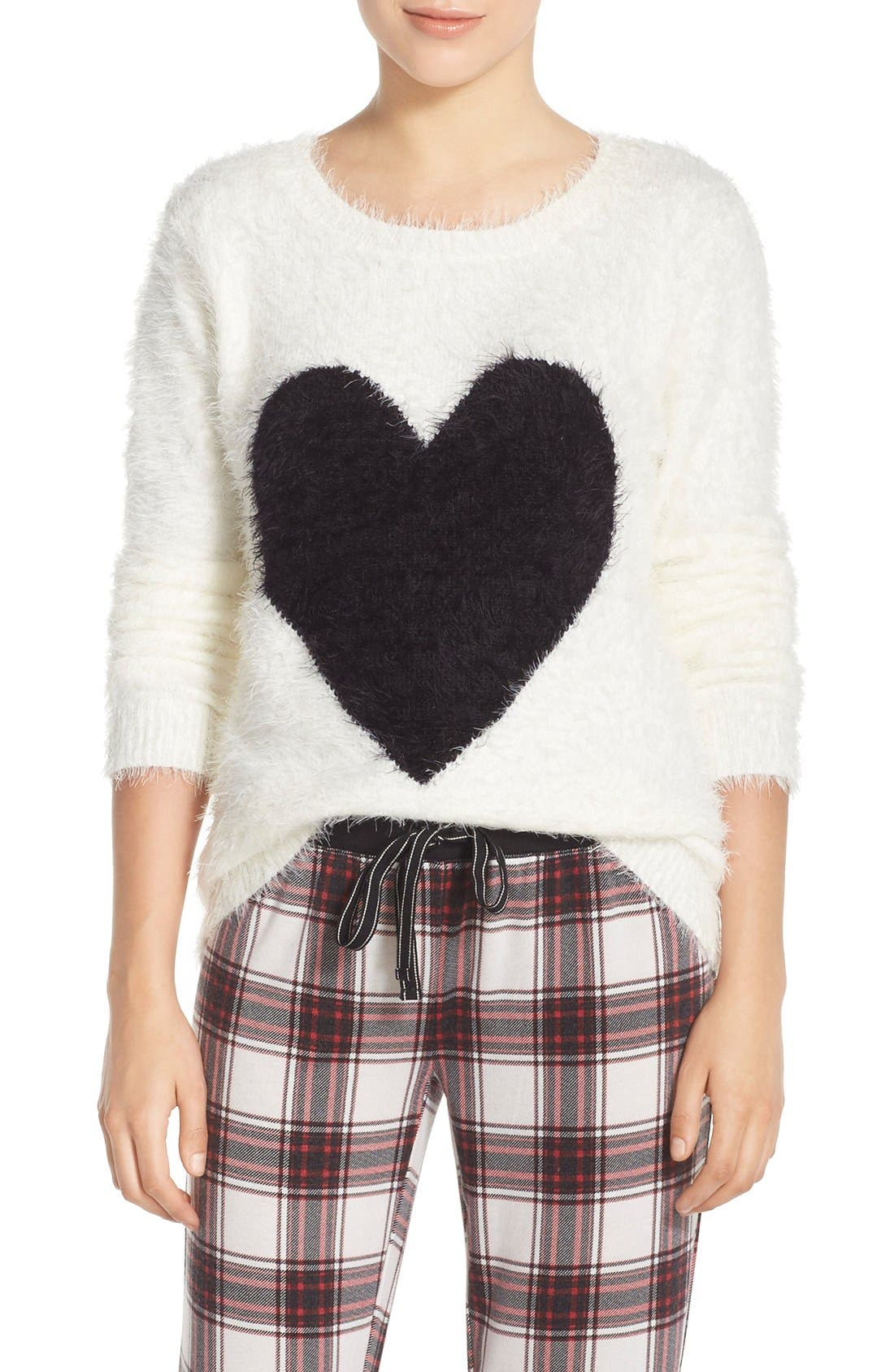 Alternate Image 1 Selected - PJ Salvage Heart Front Sweater