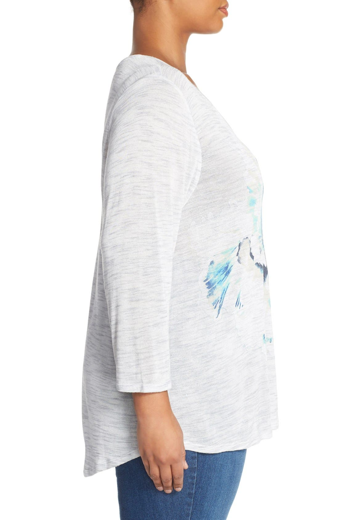 Alternate Image 3  - Lucky Brand 'Painted Floral' Tee (Plus Size)