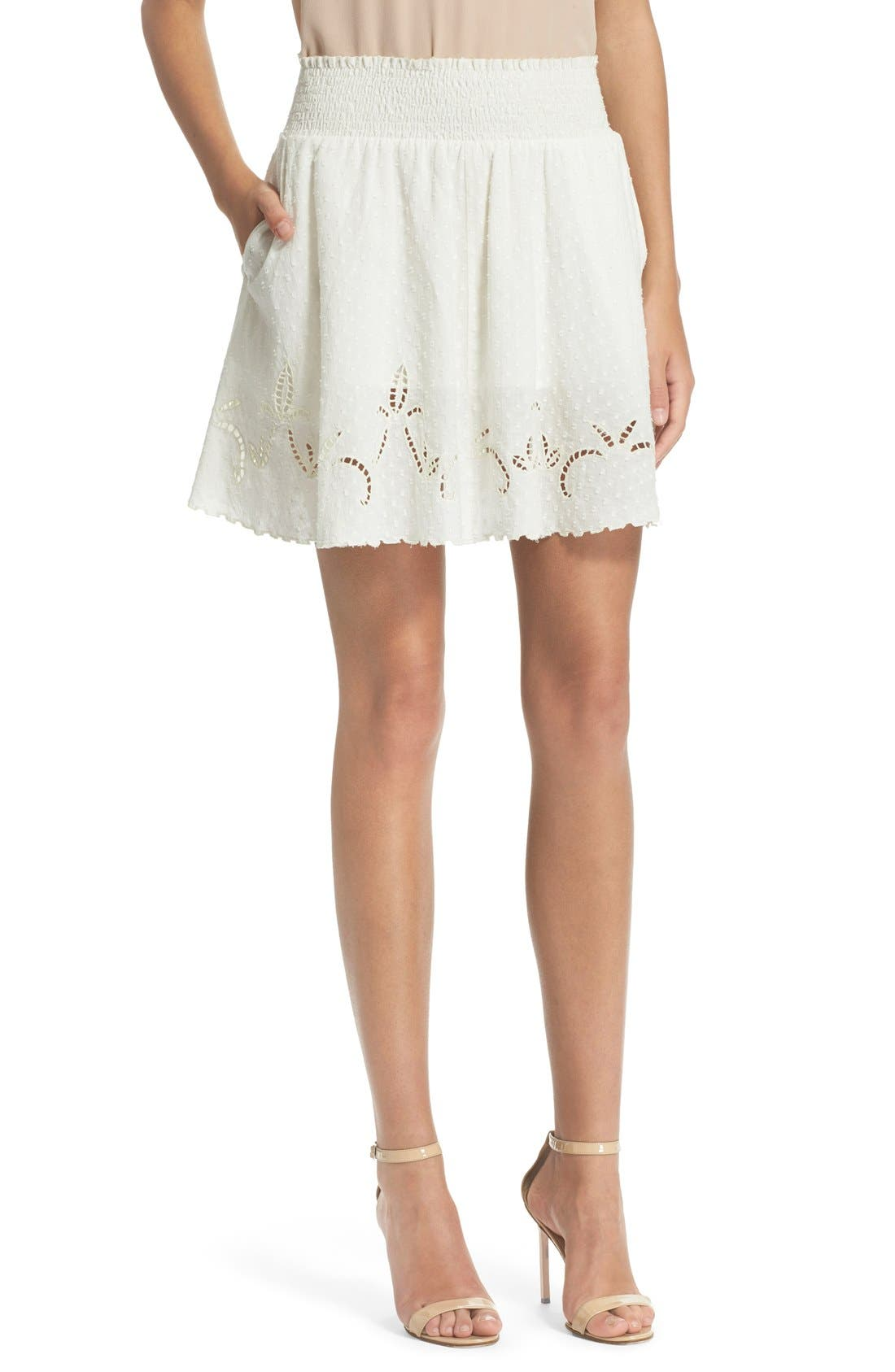 Main Image - The Kooples Embroidered Cotton Dobby Skirt
