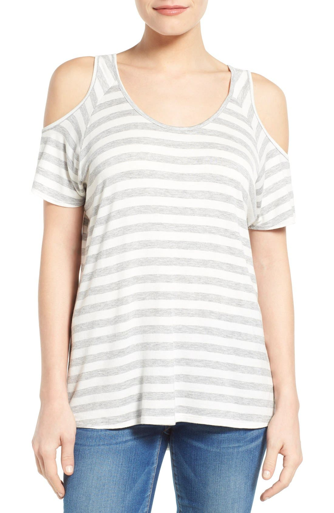 Alternate Image 1 Selected - KUT from the Kloth 'Caroline' Cold Shoulder Stripe Top