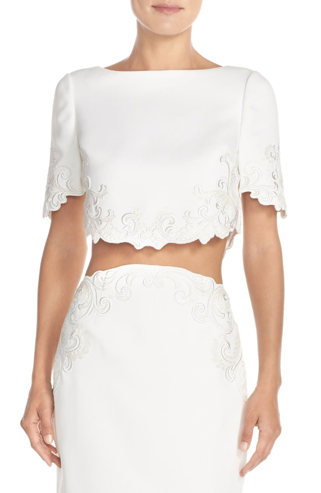 Ted Baker London 'Capris' Embroidered Crop Top