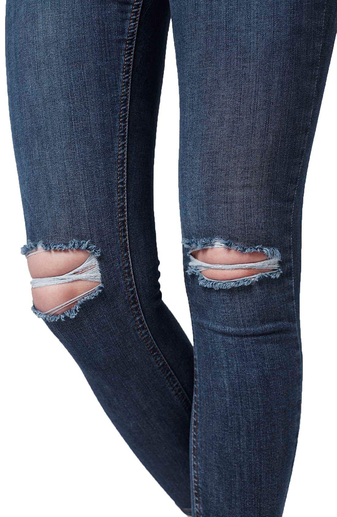 Alternate Image 5  - Topshop 'Jamie' Ripped Crop Skinny Jeans (Navy Blue) (Petite)