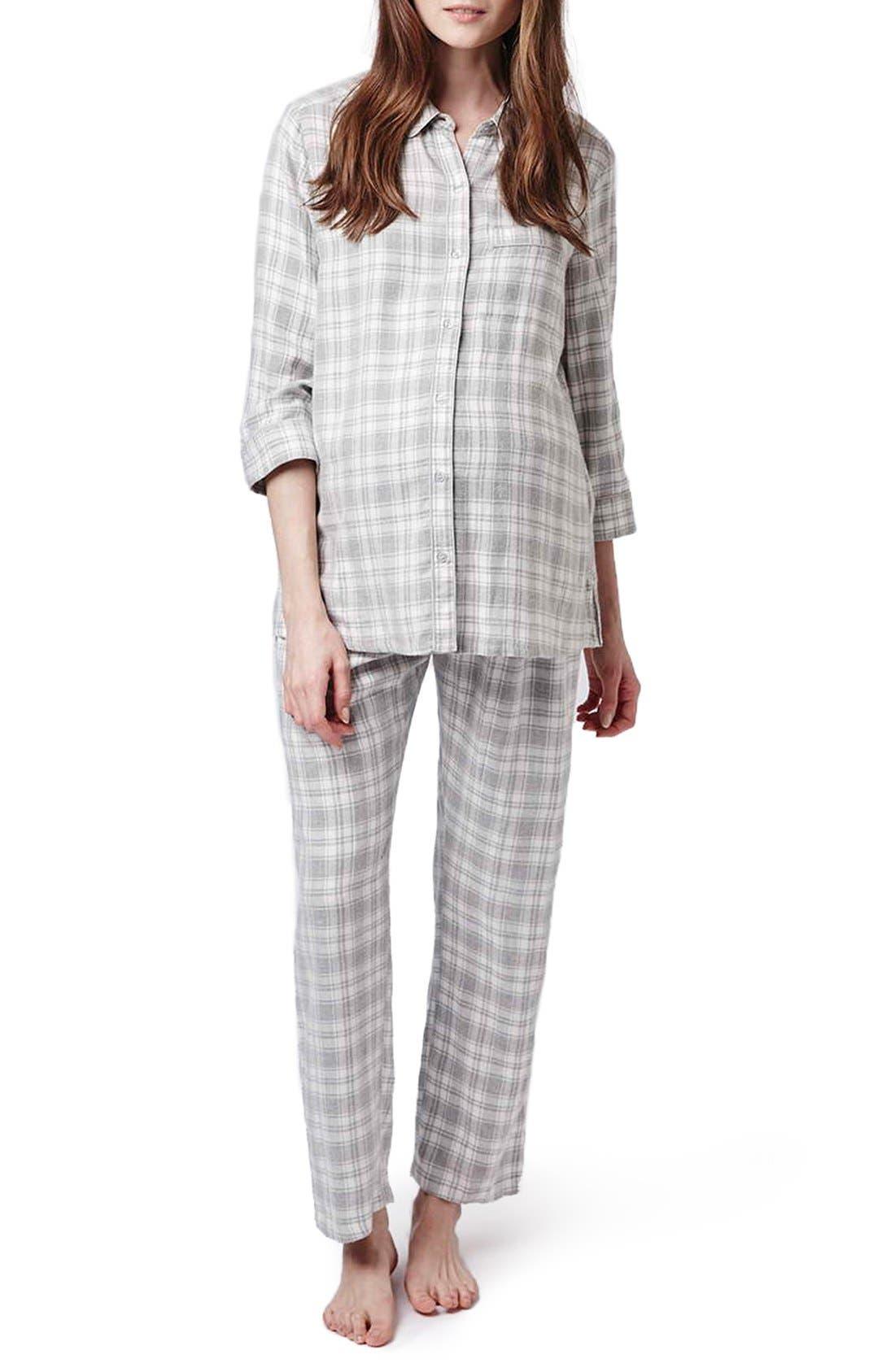 Main Image - Topshop Plaid Maternity Pajamas