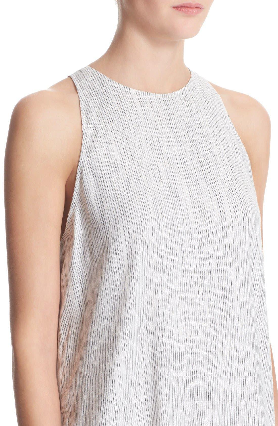 Alternate Image 4  - Theory 'Adlerdale' Stripe Sleeveless Linen Blend Dress