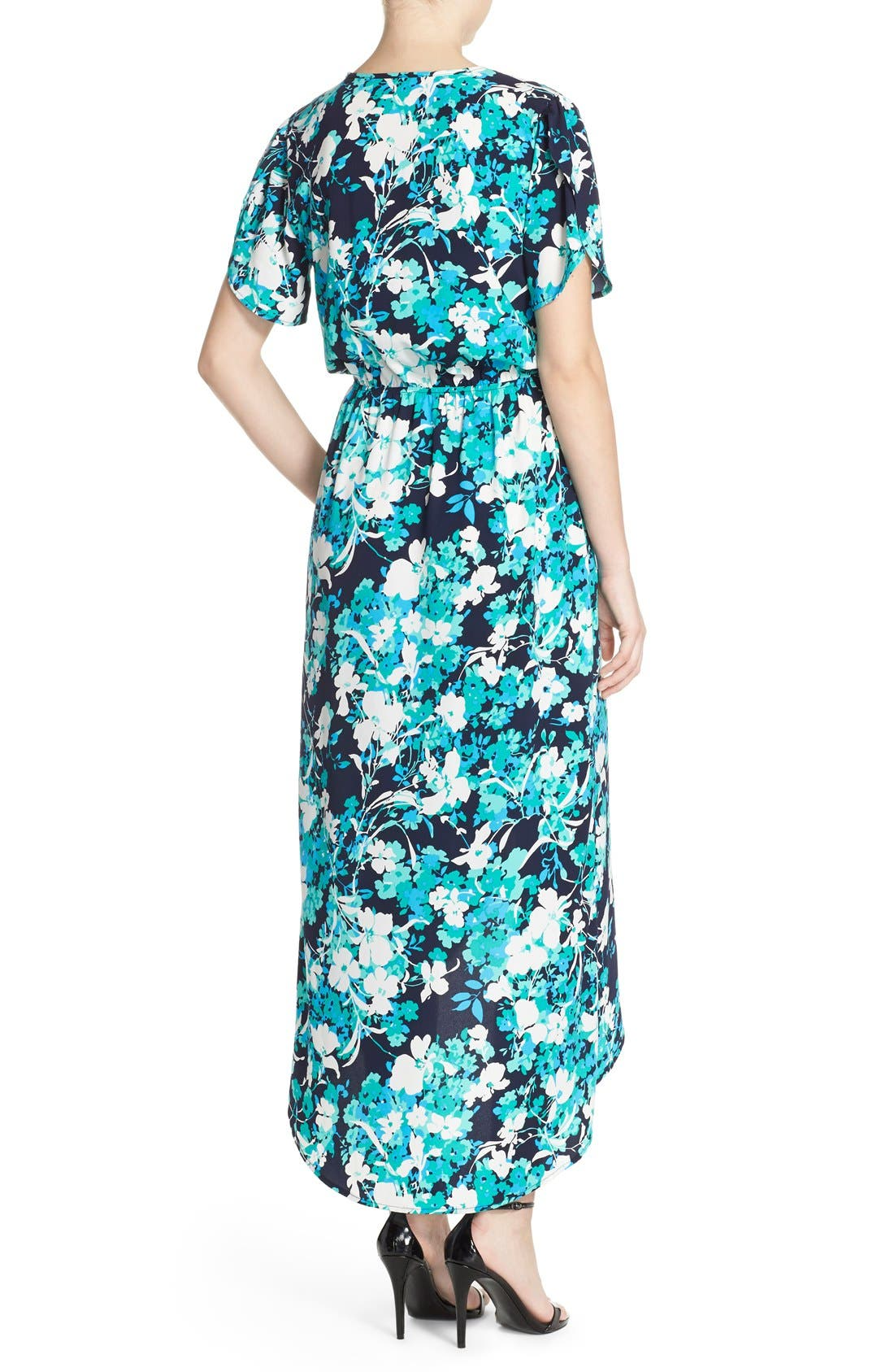 Alternate Image 2  - Fraiche by J Floral Print Woven High/Low Maxi Dress