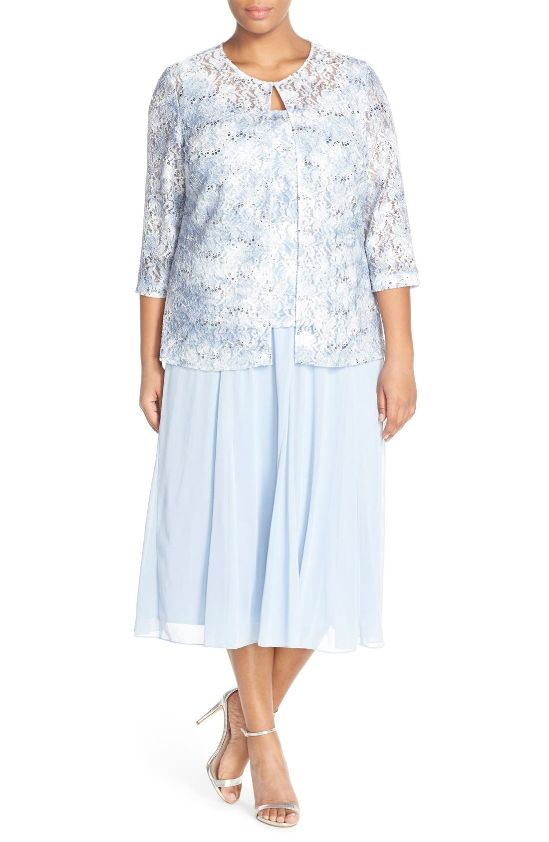 Alternate Image 2  - Alex Evenings Mesh Skirt (Plus Size)