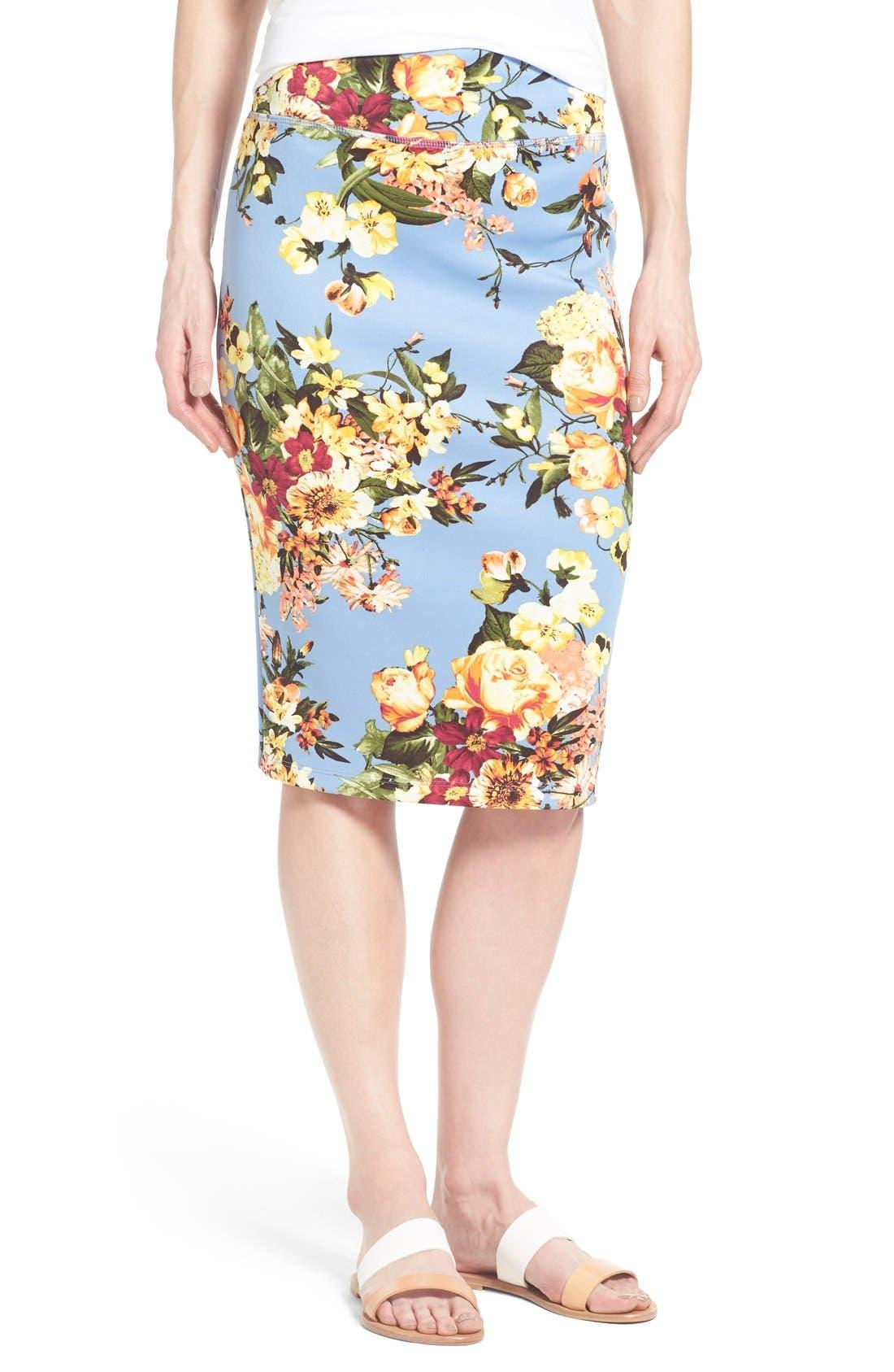 Alternate Image 1 Selected - Bobeau Floral Print Pencil Skirt (Regular & Petite)