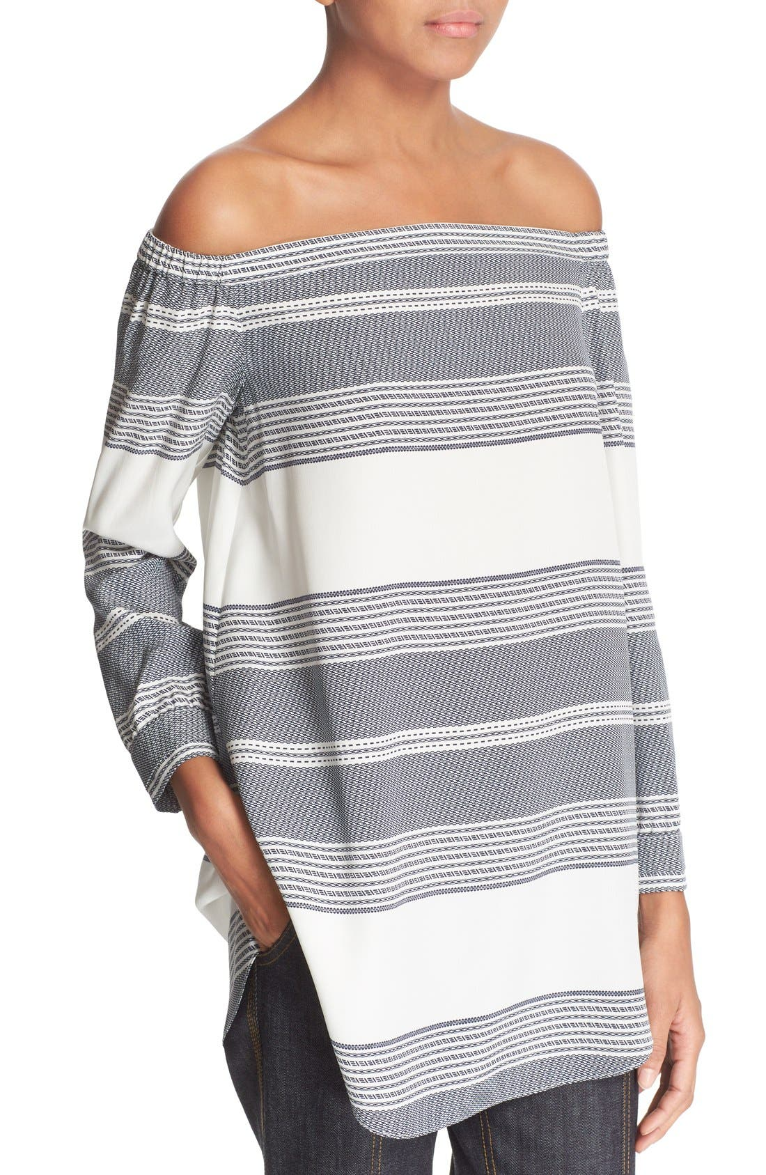 Alternate Image 4  - Derek Lam 10 Crosby Off the Shoulder Stripe Silk Top