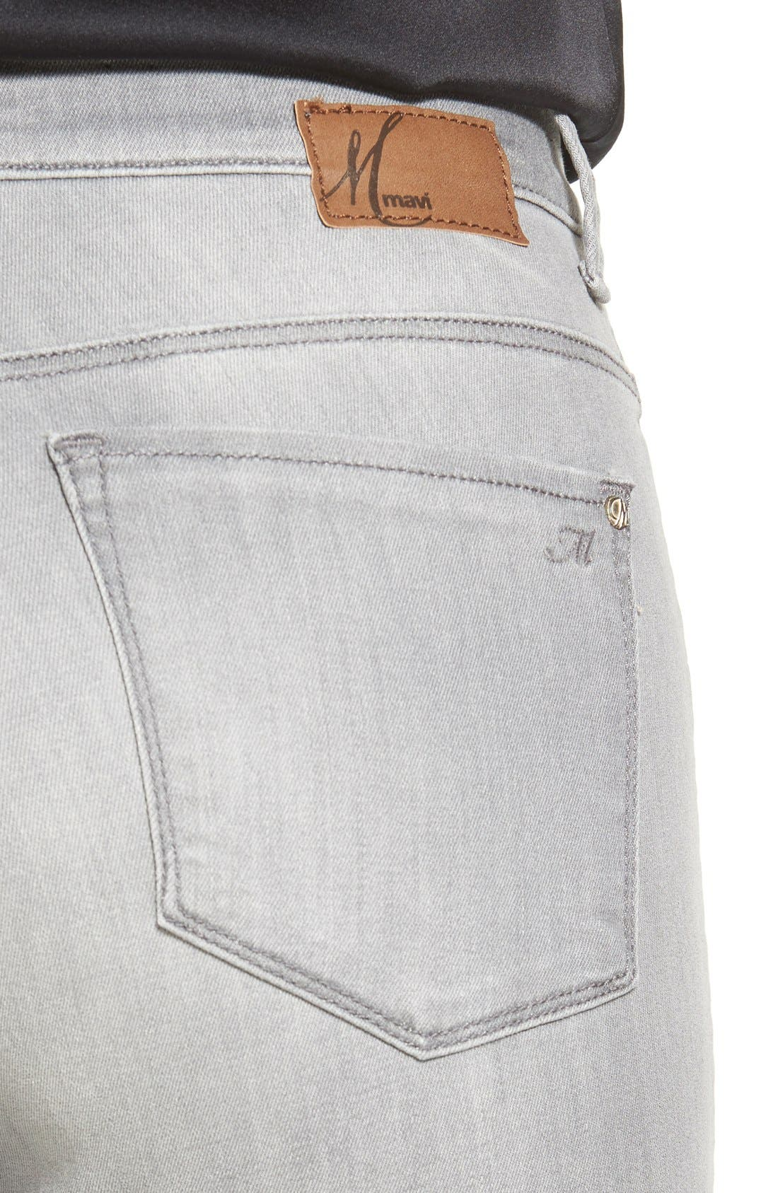 Alternate Image 4  - Mavi Jeans 'Alissa' Stretch Skinny Jeans (Light Grey Tribeca) (Petite)