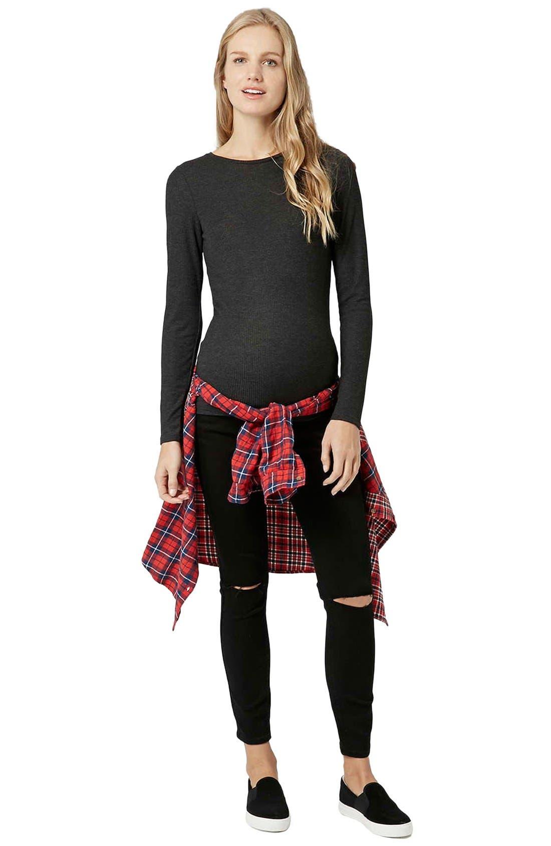 Alternate Image 2  - Topshop 'Jamie' Ripped Skinny Maternity Jeans