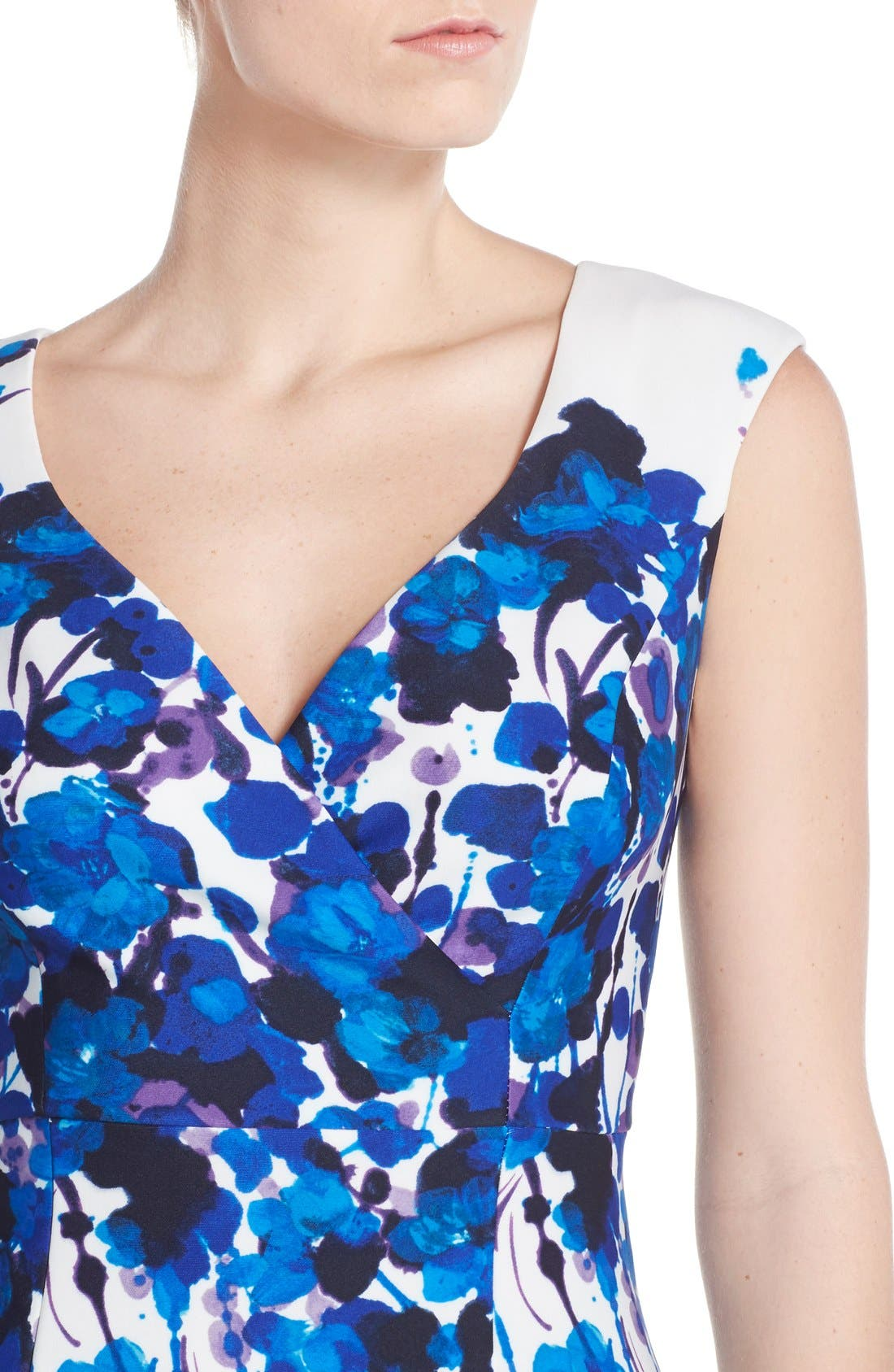 Alternate Image 5  - Adrianna Papell Placed Print Stretch Fit & Flare Dress