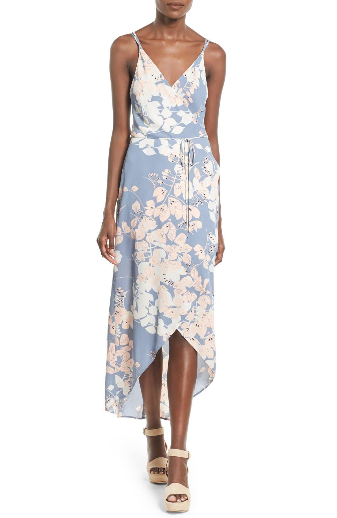 Alternate Image 1 Selected - ASTR Wrap Front High/Low Dress