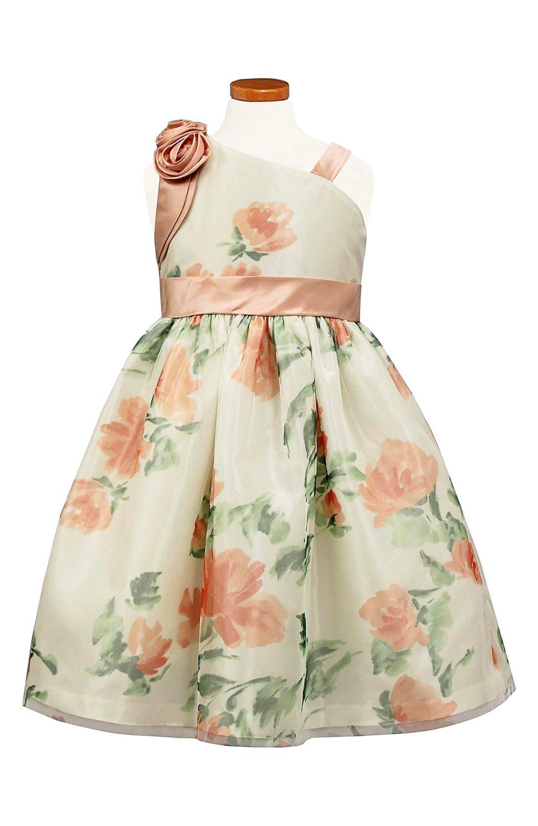 SORBET Floral Mesh One-Shoulder Dress