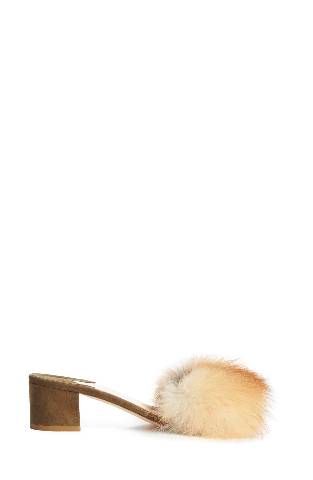 Alternate Image 4  - Brother Vellies 'Tufted' Genuine Fox Fur Slide Sandal (Women)