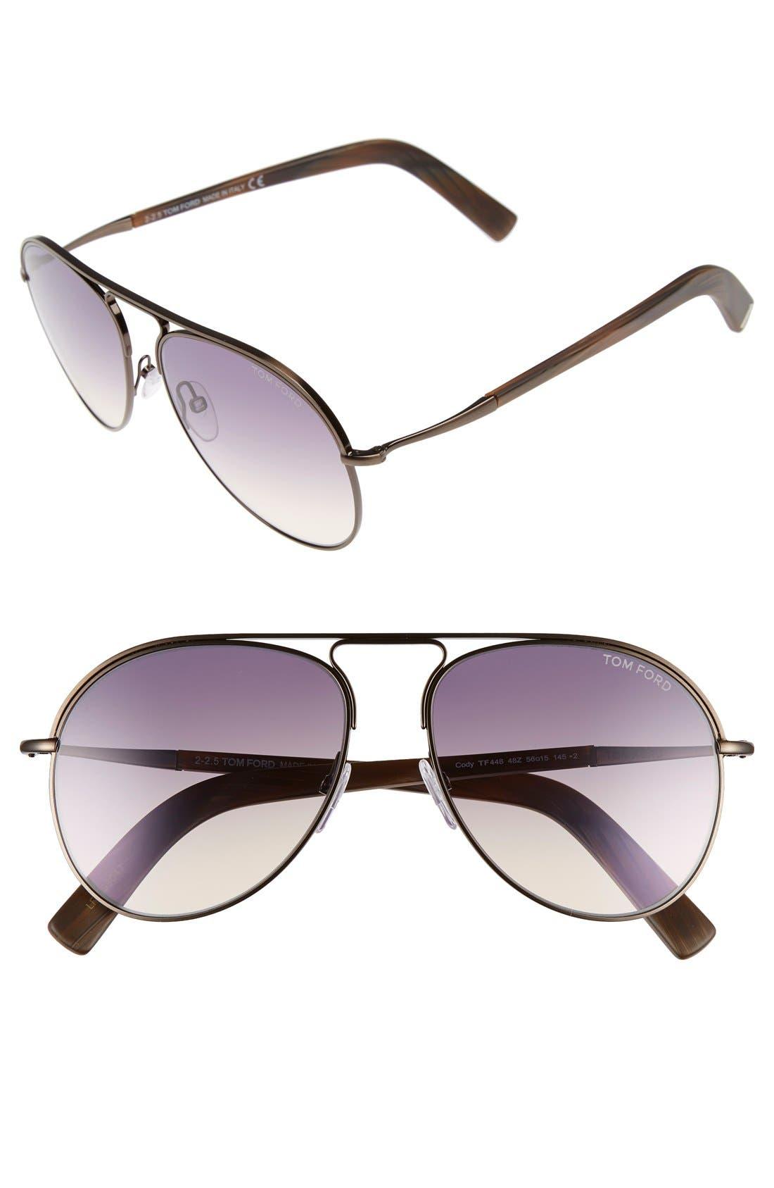 Main Image - Tom Ford 'Cody' 56mm Aviator Sunglasses