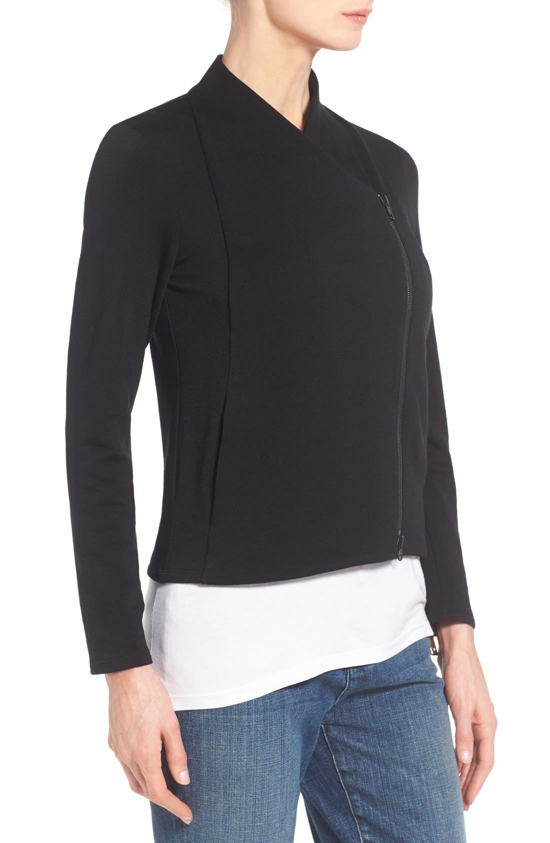 Alternate Image 3  - Eileen Fisher Tencel® Jersey High Collar Jacket (Regular & Petite)