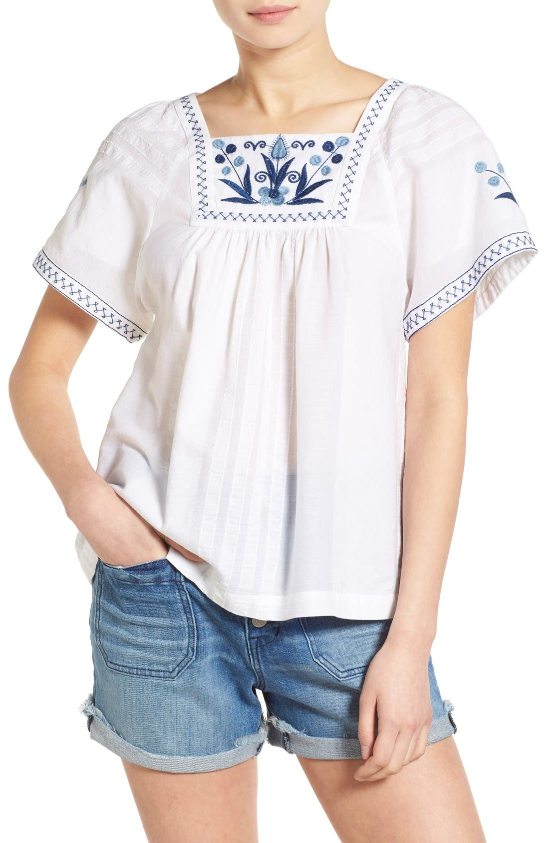 Main Image - Madewell Embroidered Short Sleeve Peasant Top
